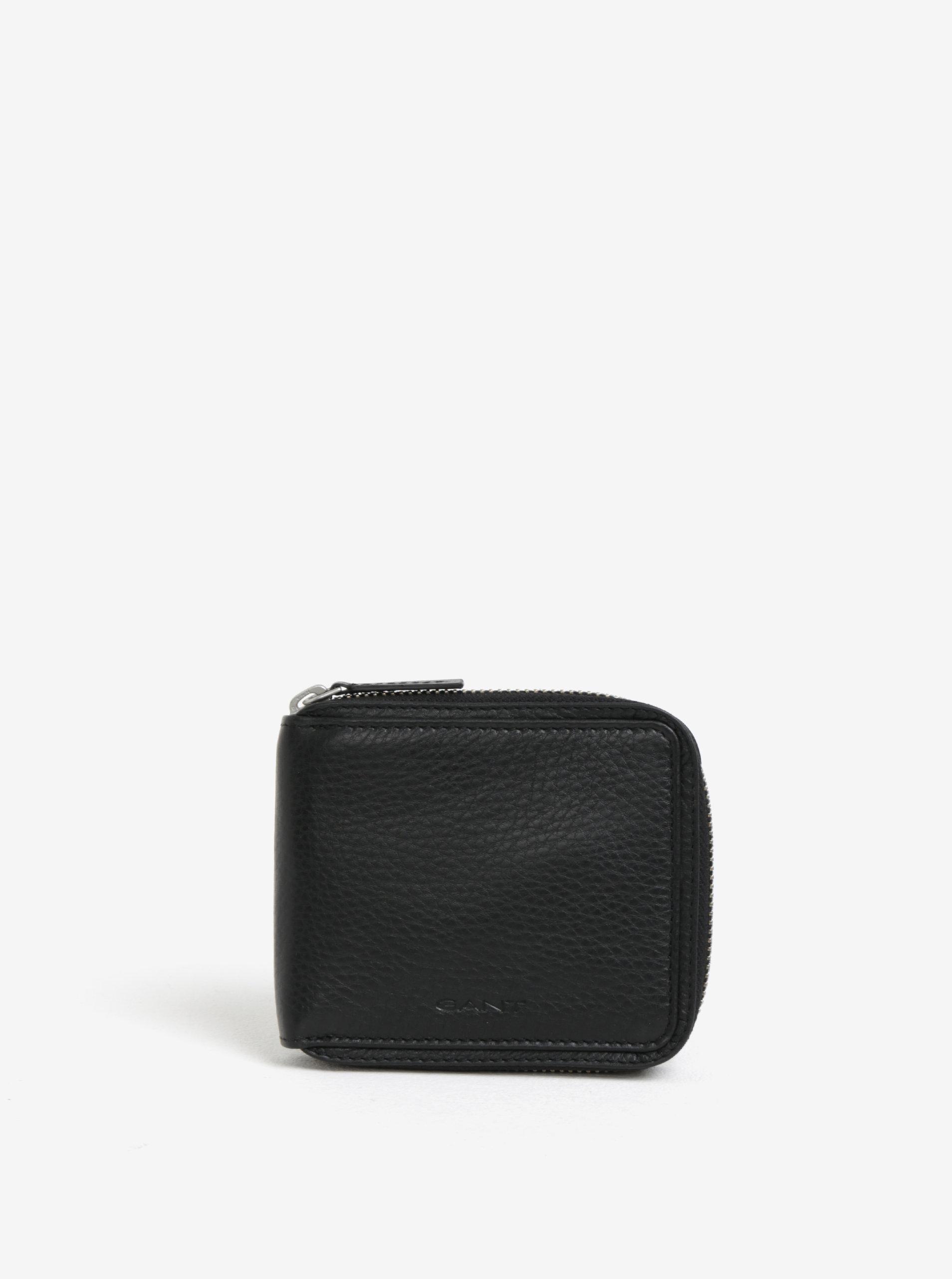 f1fd1b207b Čierna pánska kožená peňaženka na zips GANT ...