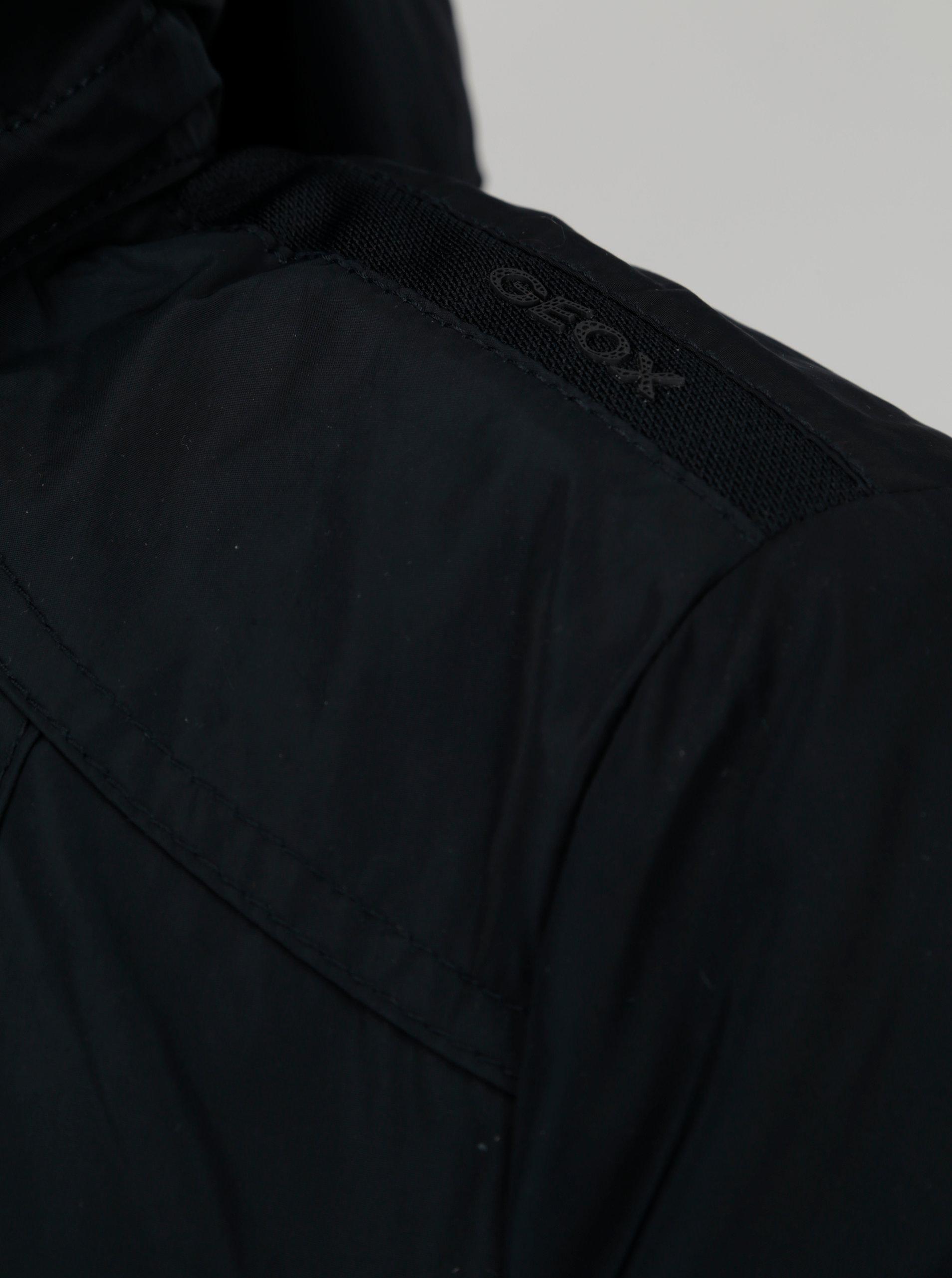 Tmavomodrá dámska bunda s kapucňou a opaskom Geox ... cc3c79baed8