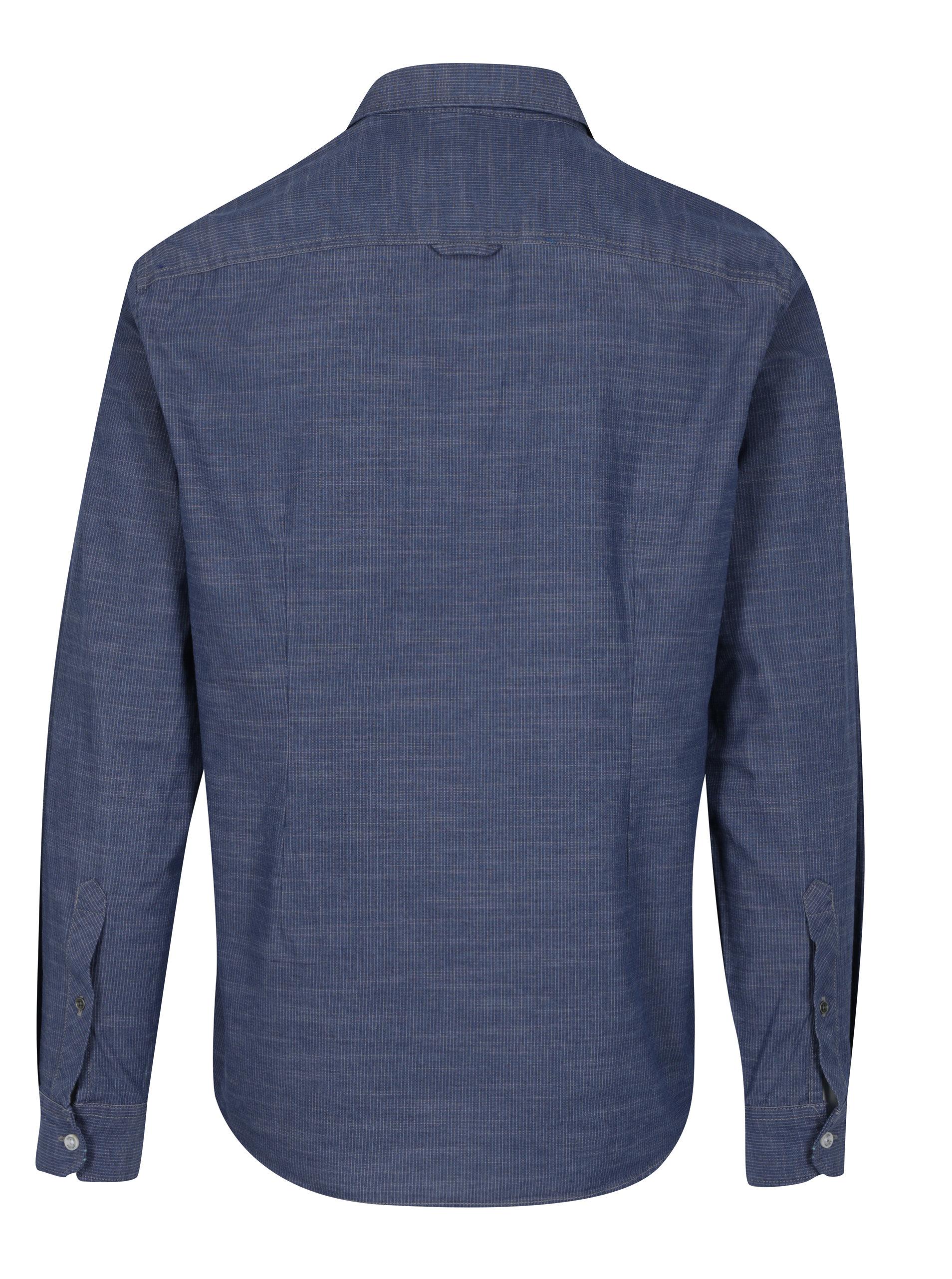 Modrá pánská slim fit košile s jemným vzorem s.Oliver  fa1ec41470