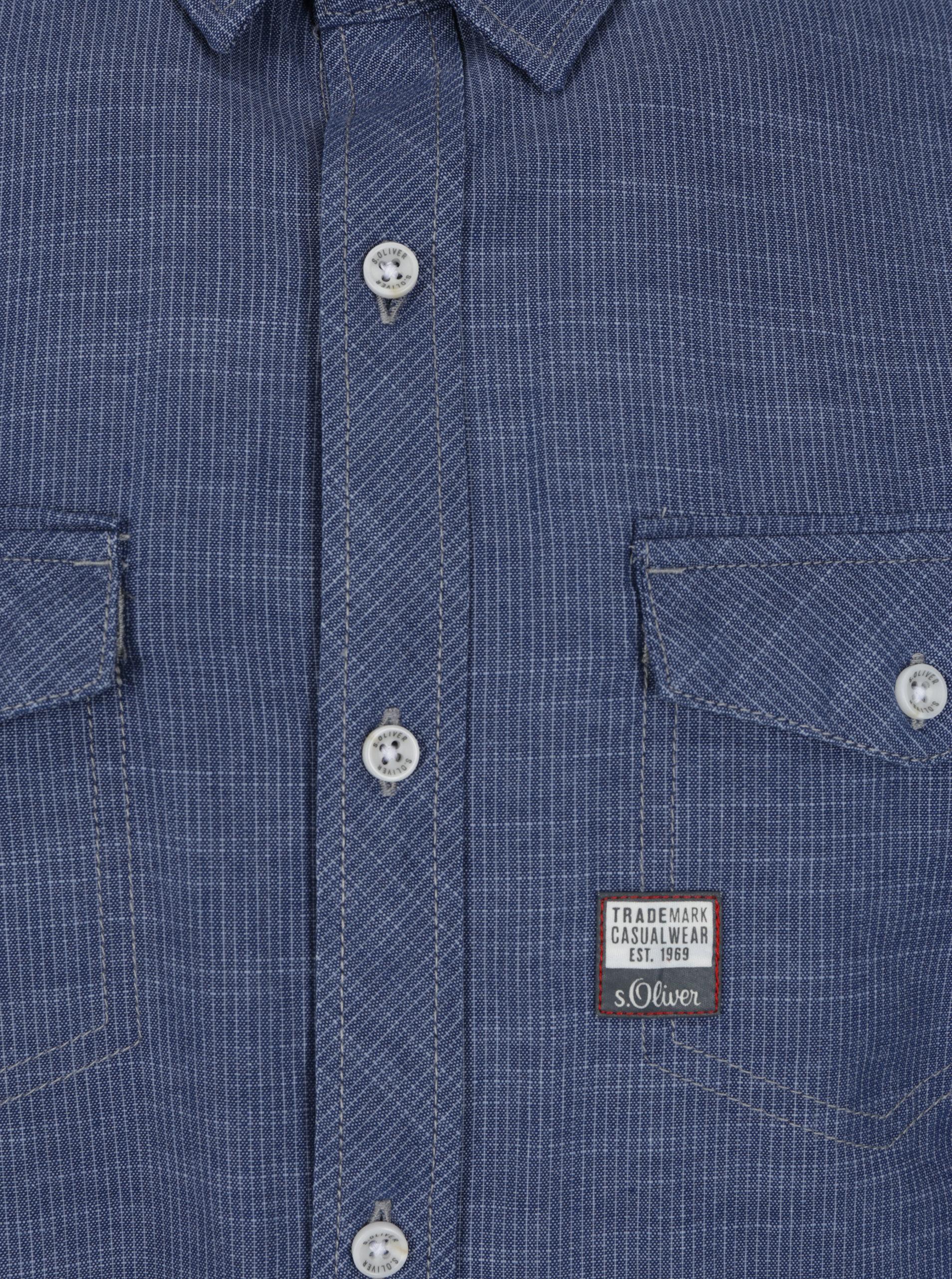 e2e534c3300d Modrá pánska slim fit košeľa s jemným vzorom s.Oliver