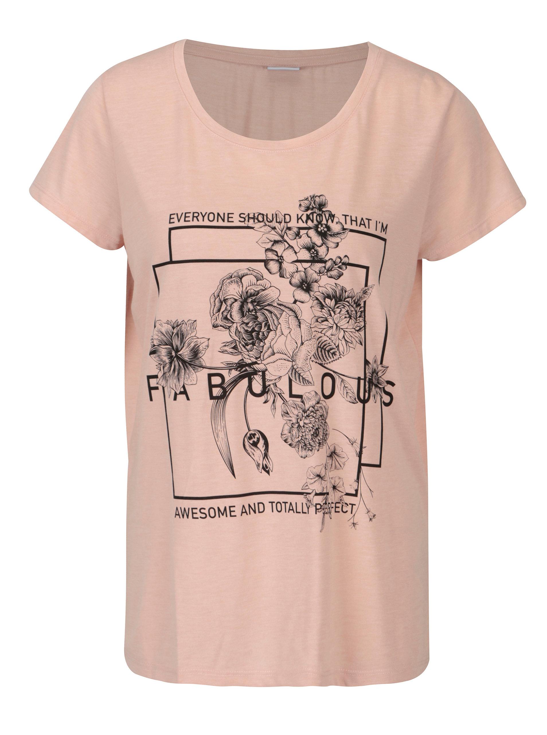 4f87611a6fc Růžové volné tričko s potiskem Jacqueline de Yong New Sky ...