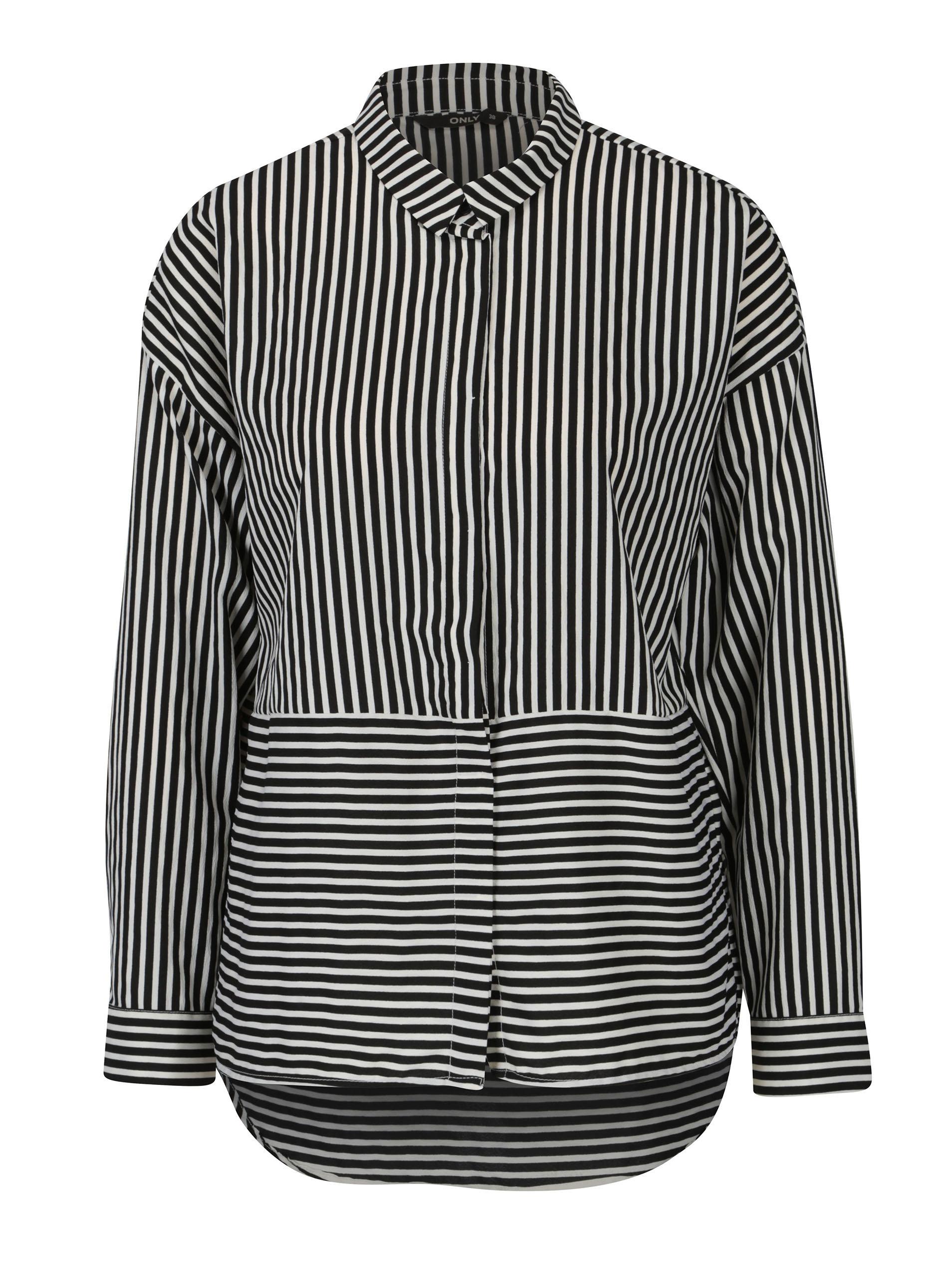 Bílo-černá pruhovaná košile s dlouhým rukávem ONLY Elena ... 861f9795f5