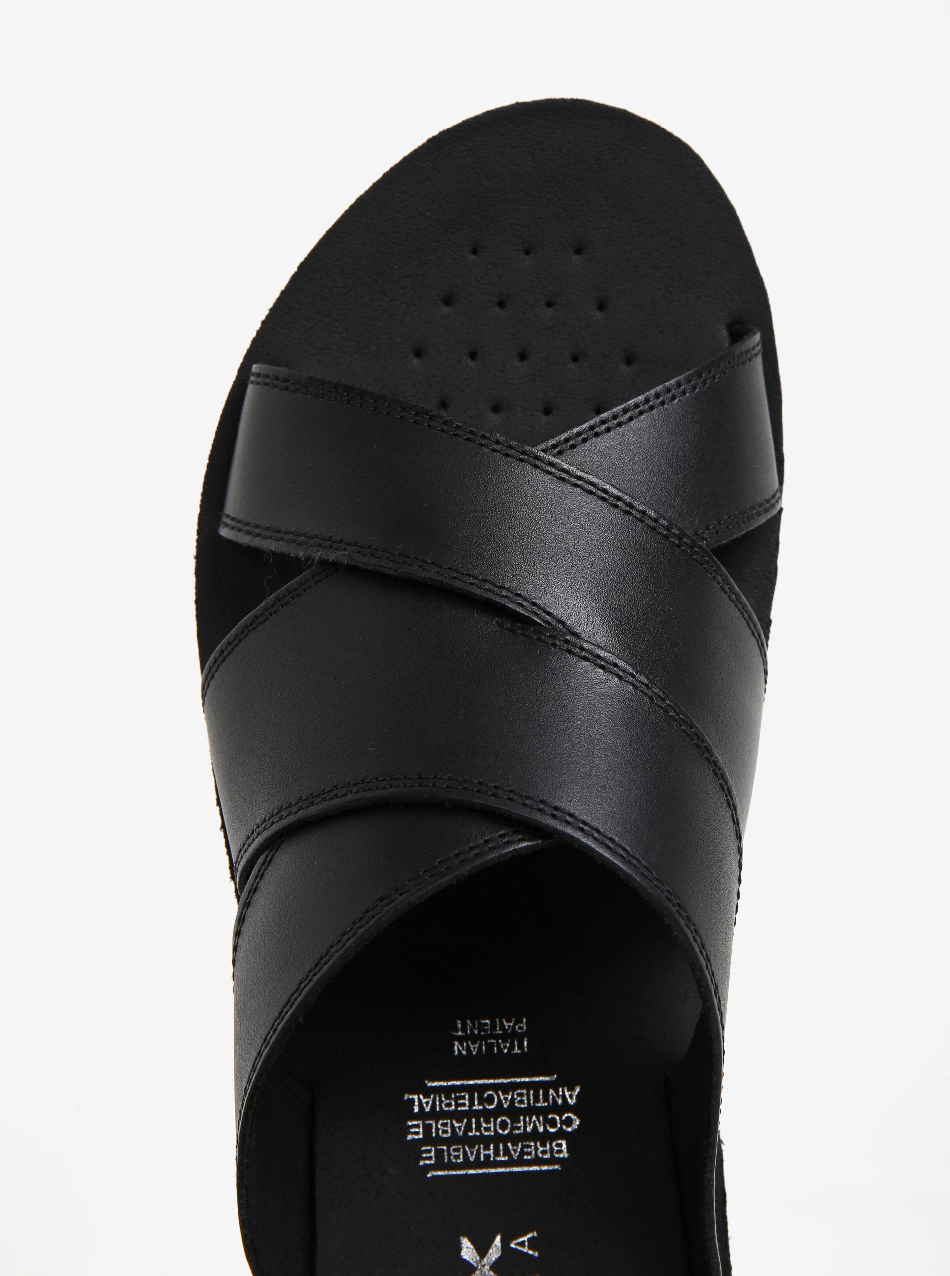 59864882381 Černé pánské kožené pantofle Geox Glenn ...