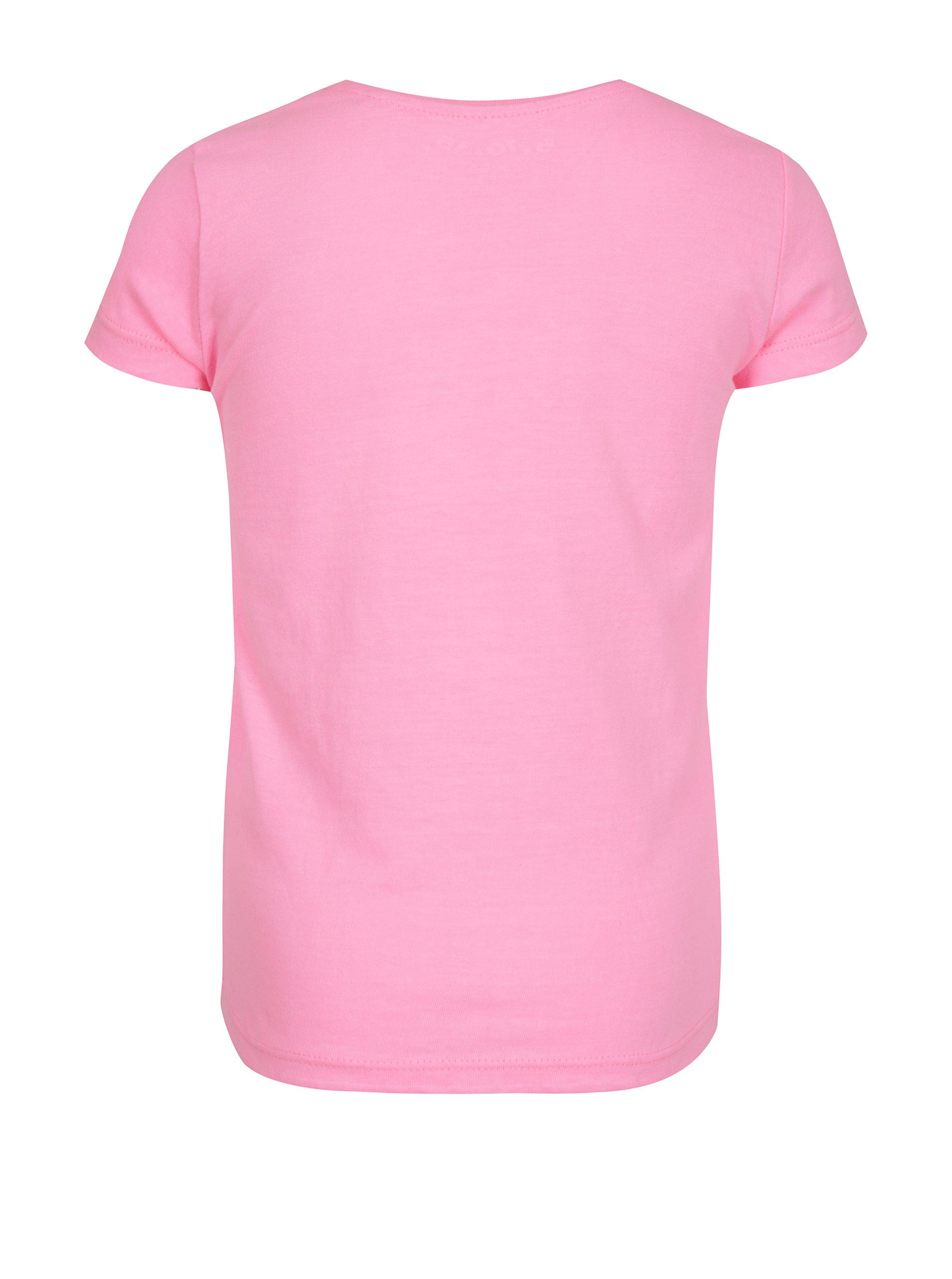 dc0f54ba429c Ružové dievčenské tričko s ligotavou potlačou 5.10.15.