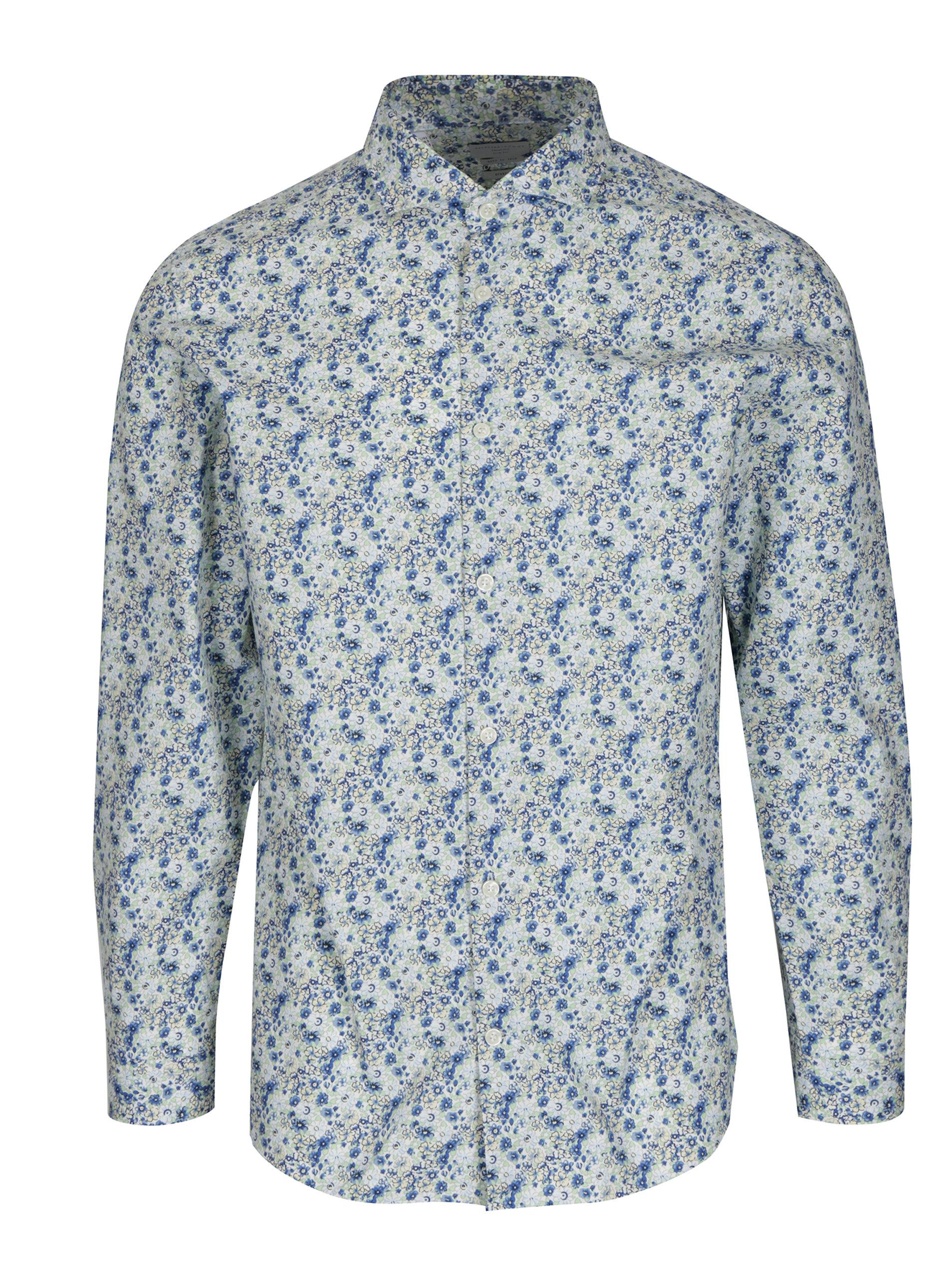 06d9d7c49 Modro-biela kvetovaná slim fit košeľa Selected Homme Do Nesel-Rio ...