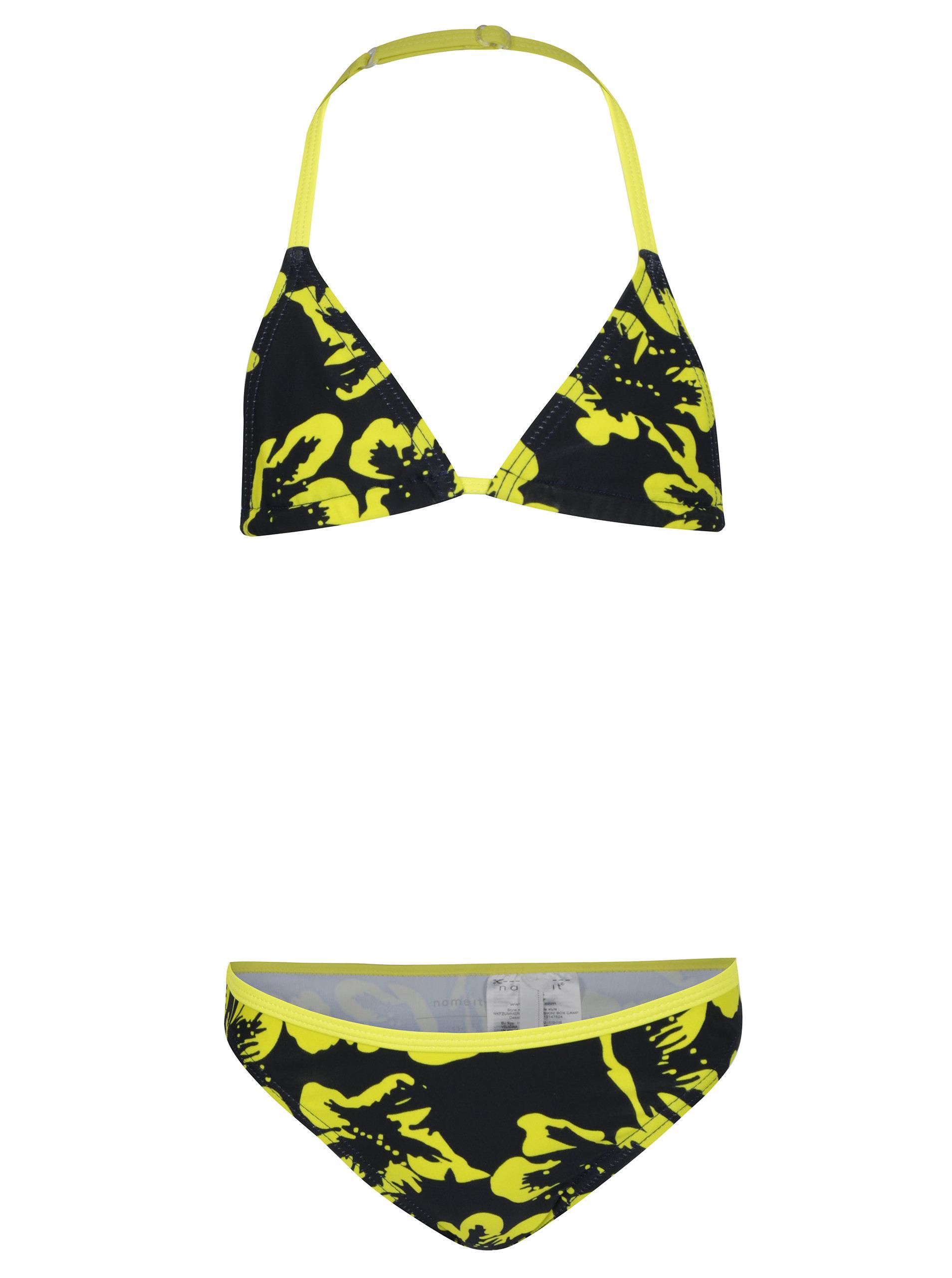 Žluto-černé holčičí květované bikiny name it Zummer ... 79773af33a