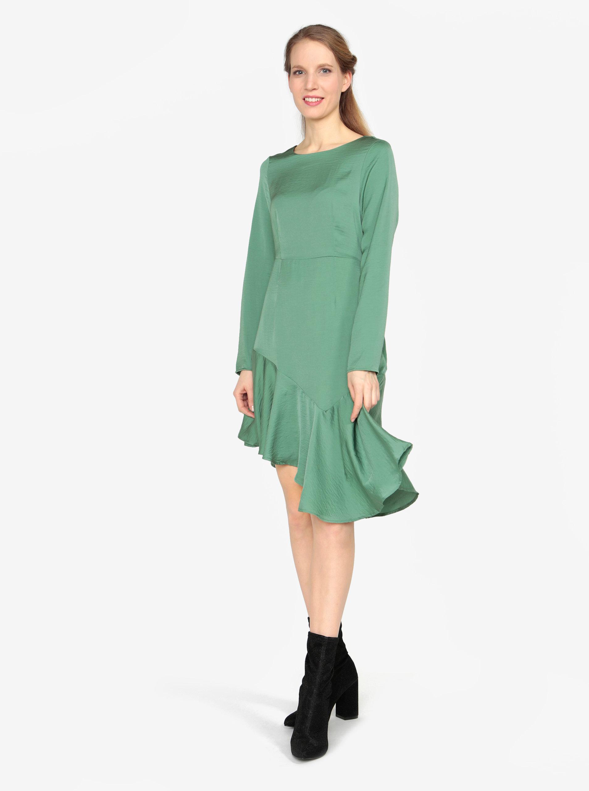 00315cf6c259 Zelené asymetrické šaty s dlouhým rukávem VERO MODA Elsa ...