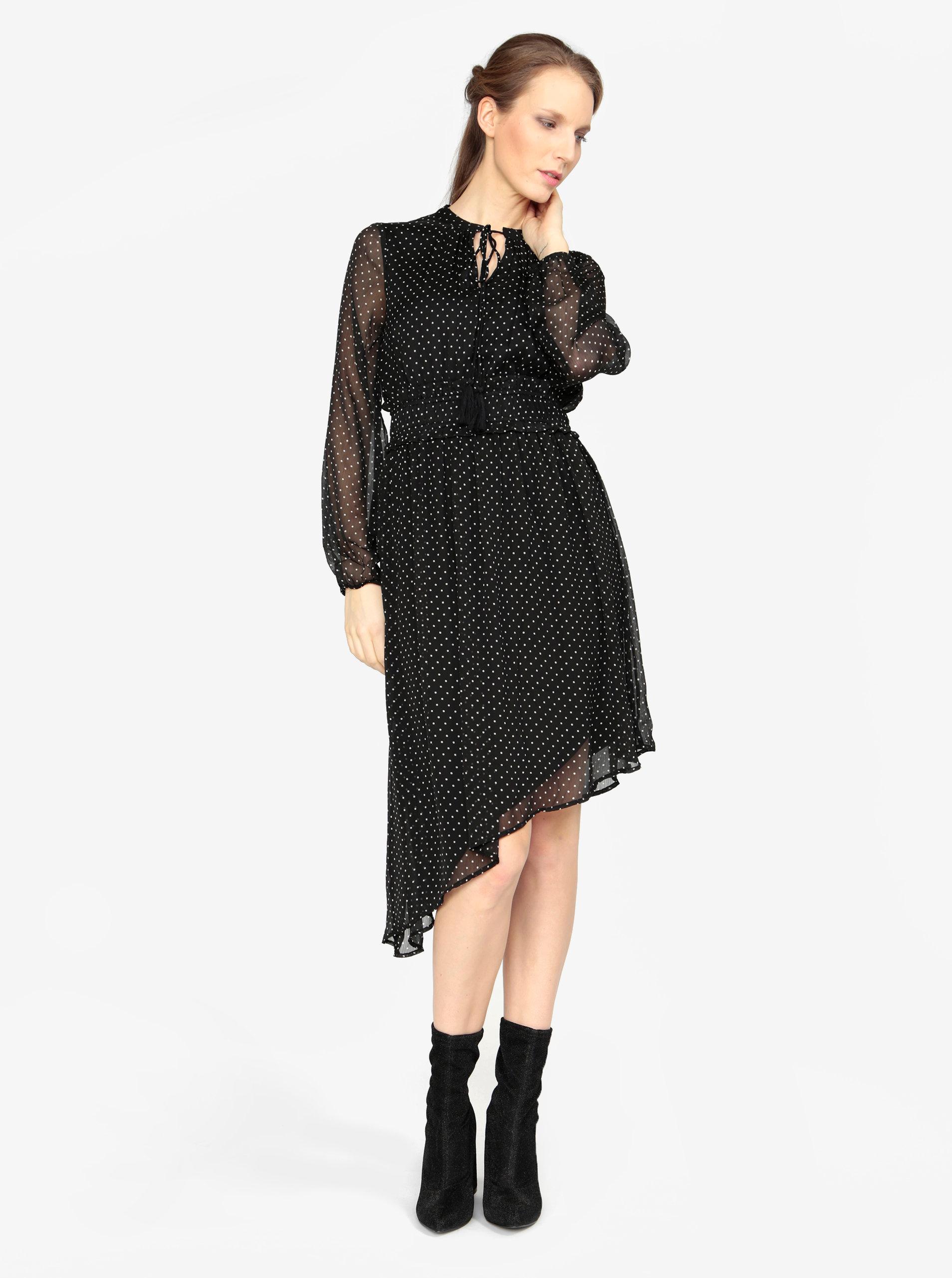 49a4c75195d8 Čierne asymetrické šaty s dlhým rukávom VERO MODA Lotta ...