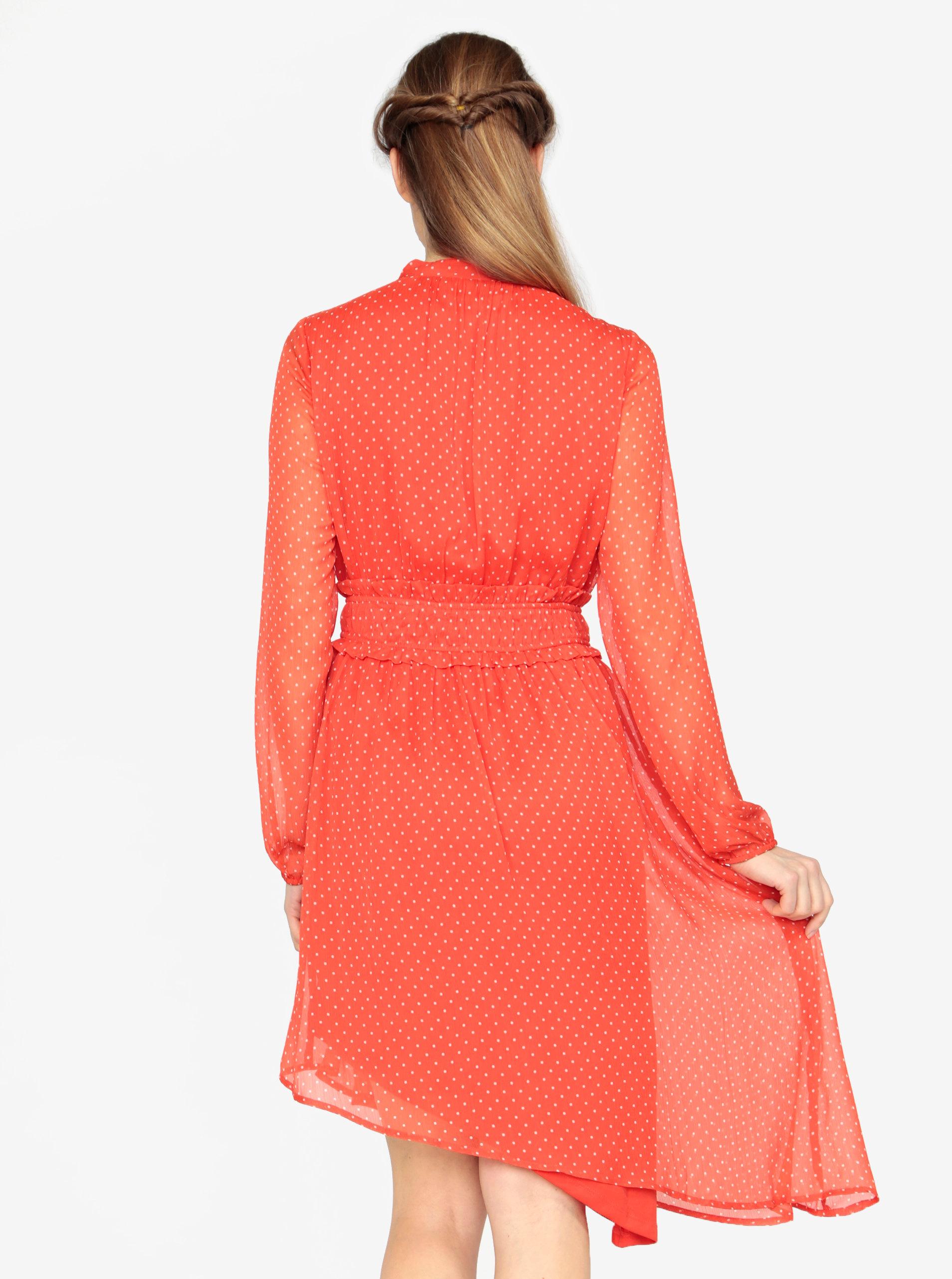 7a14cad28a9 Červené asymetrické šaty s dlhým rukávom VERO MODA Lotta ...