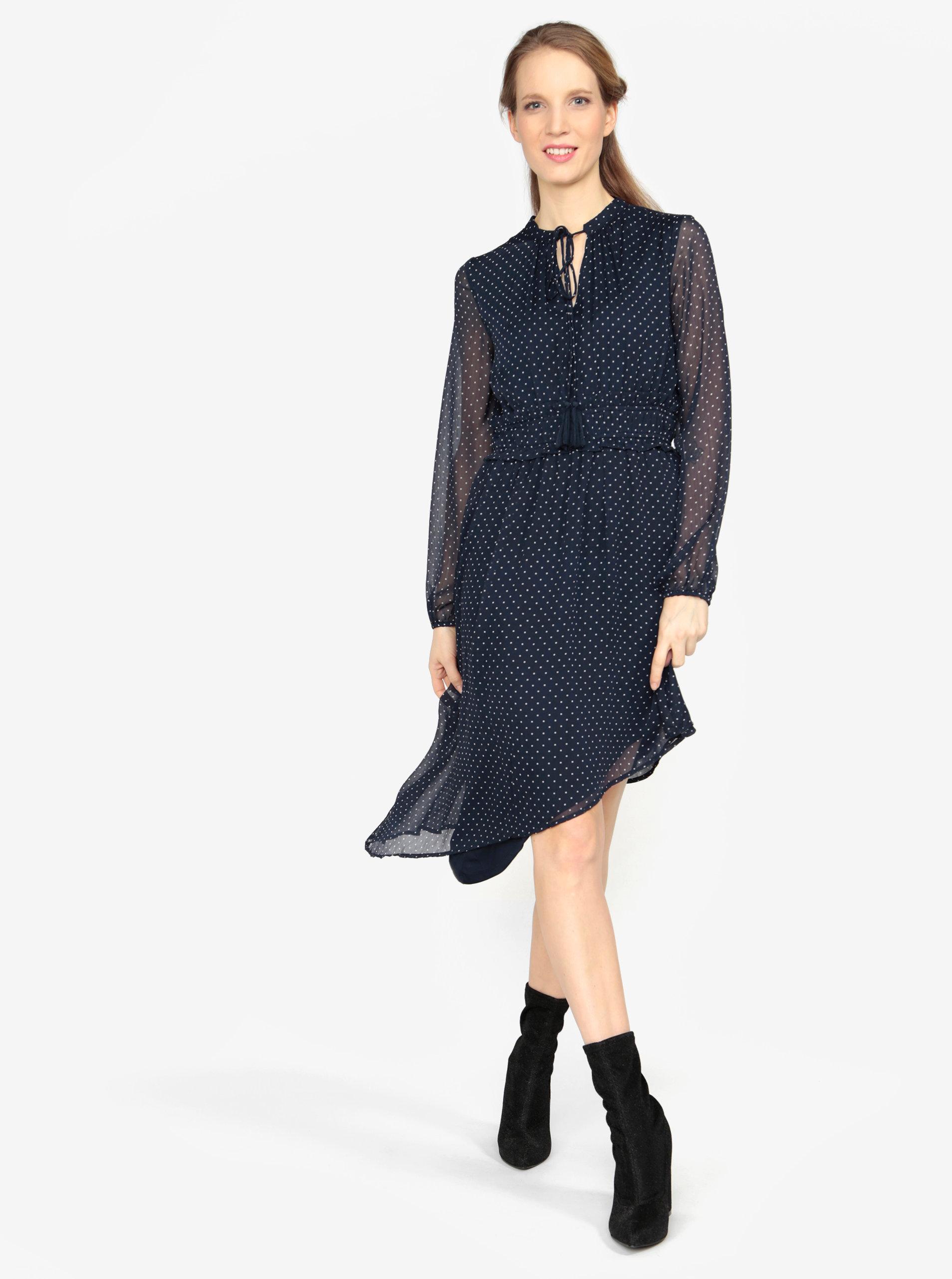 21b0a3492b6 Tmavomodré asymetrické šaty s dlhým rukávom VERO MODA Lotta ...