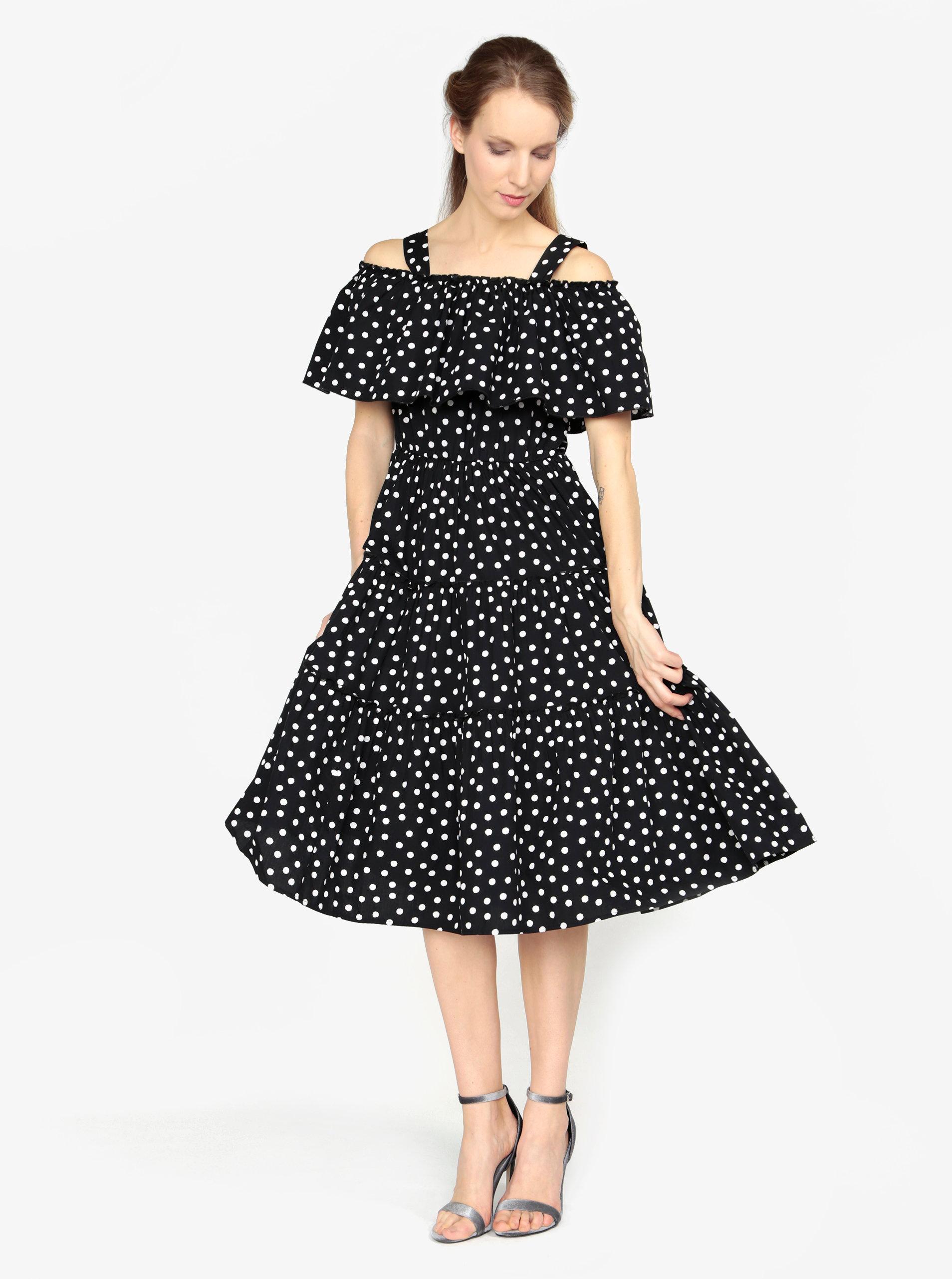 b41374291d25 Čierne vzorované šaty s odhalenými ramenami VERO MODA Loka ...