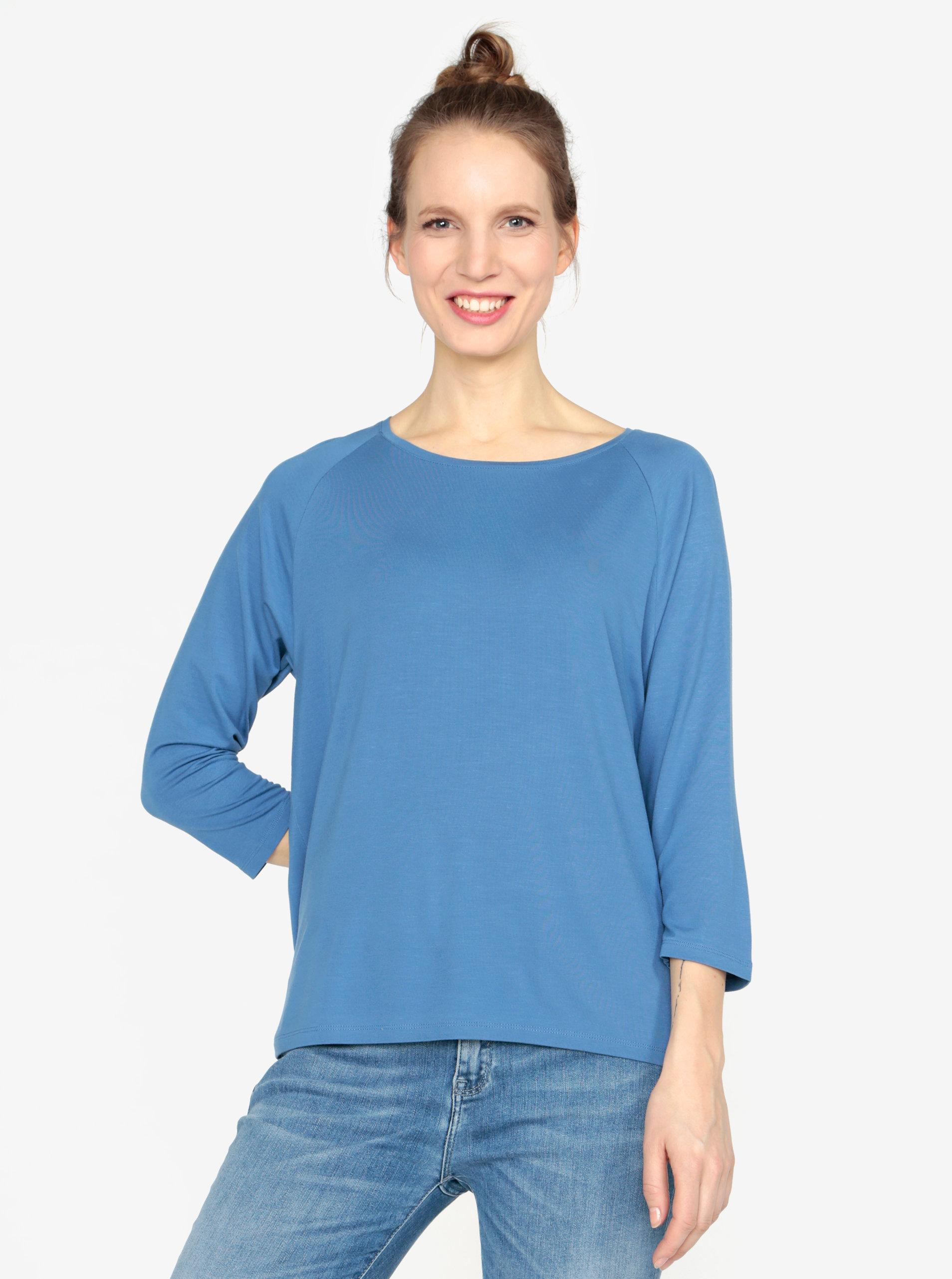 Modré tričko s 3 4 rukávom Tommy Hilfiger ... 7c6b1868aed