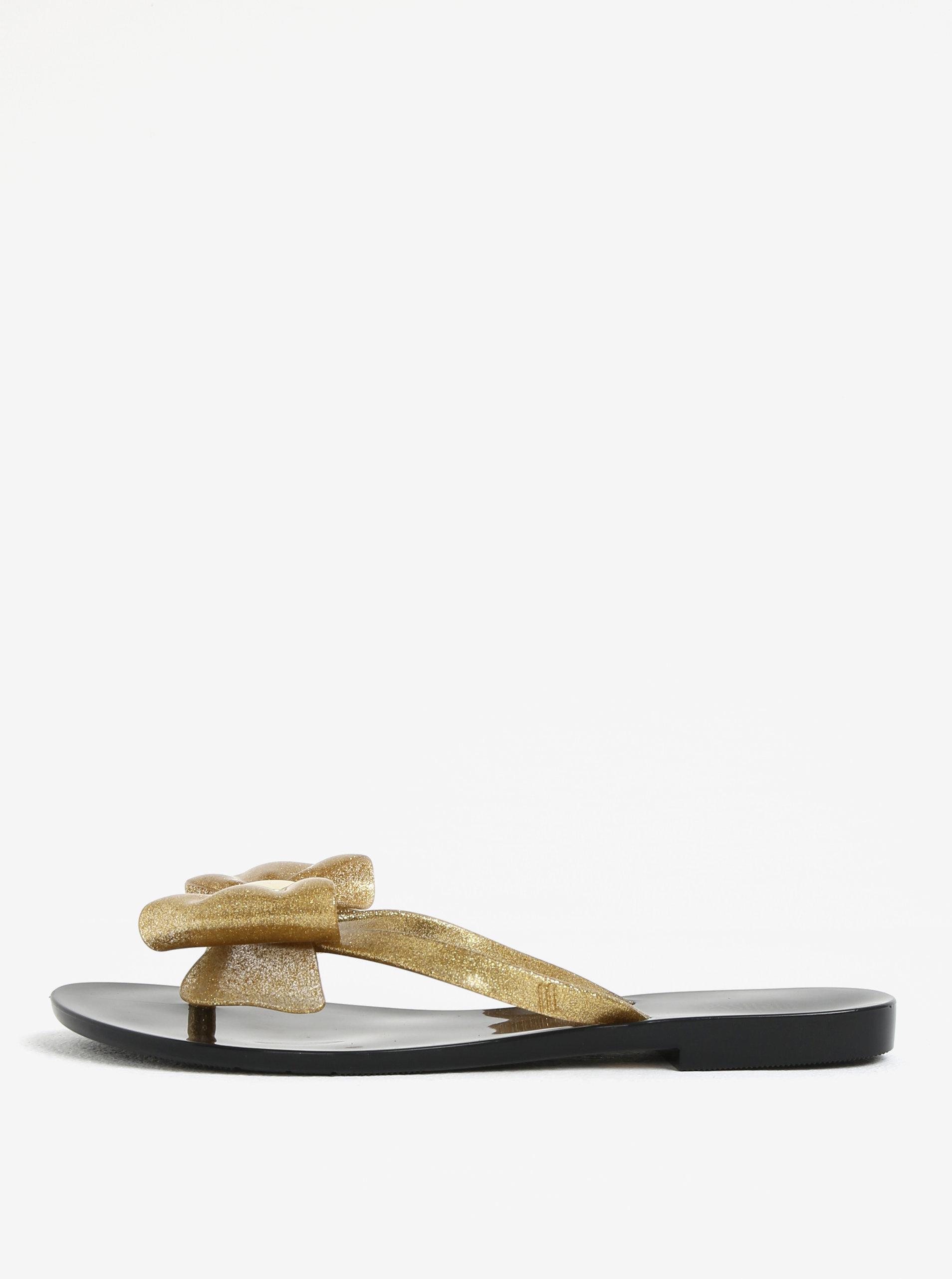 Žabky s mašlí na špičce v černo-zlaté barvě Melissa Harmonic ... 13ea1564b6