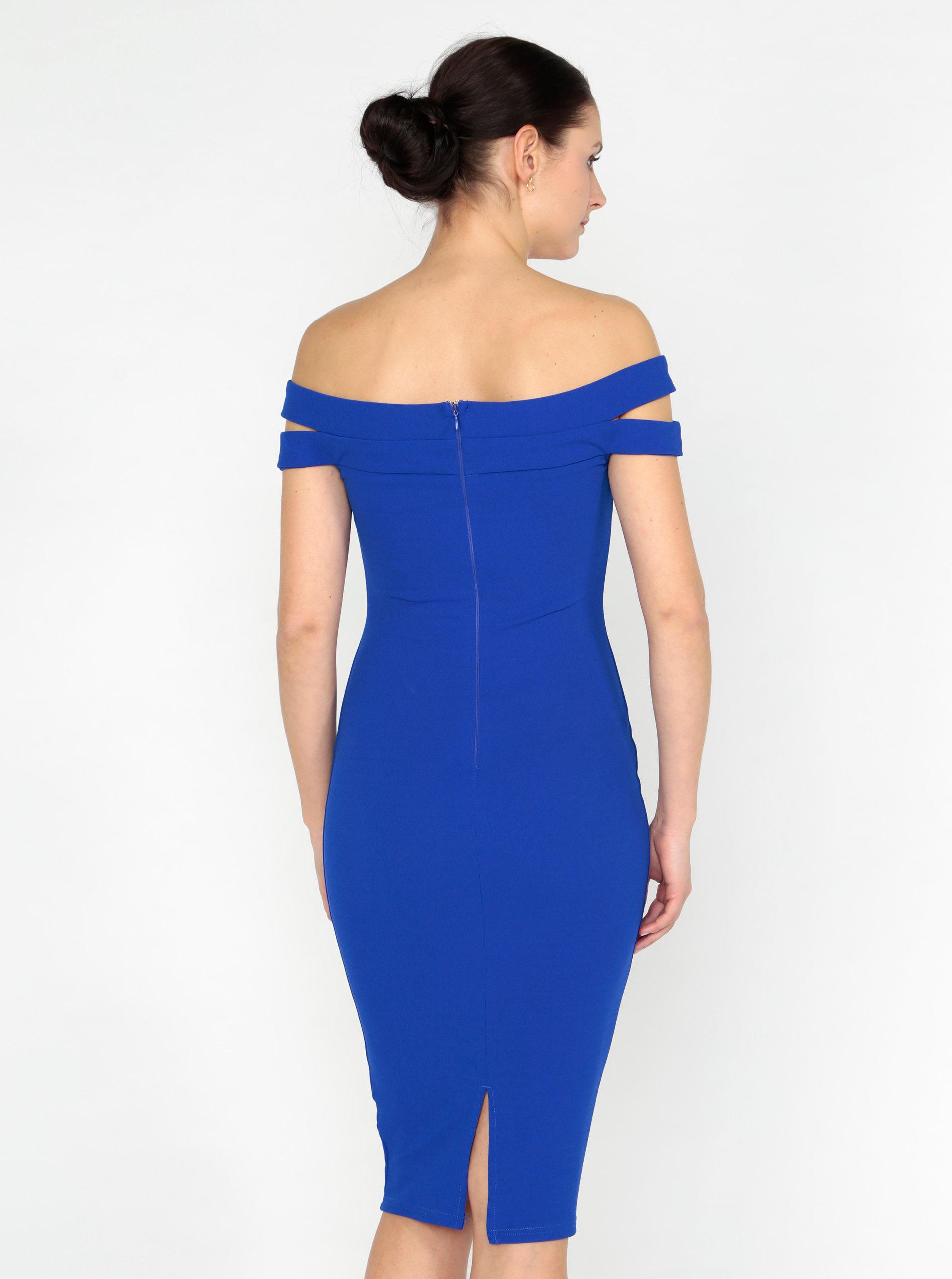 Modré pouzdrové šaty s odhalenými rameny AX Paris ... 4690ba5ee3