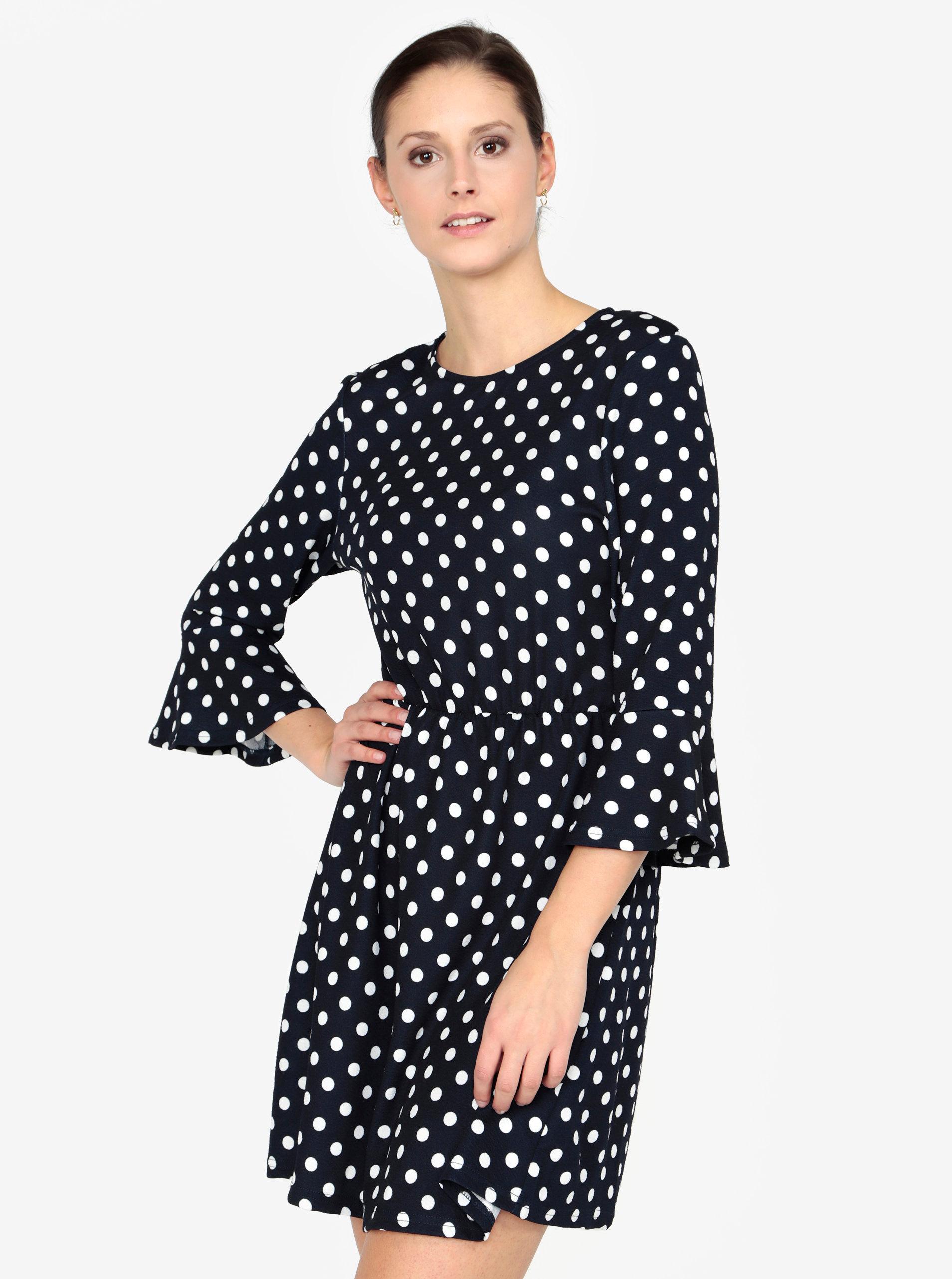 d66335c35d19 Tmavomodré bodkované šaty AX Paris ...