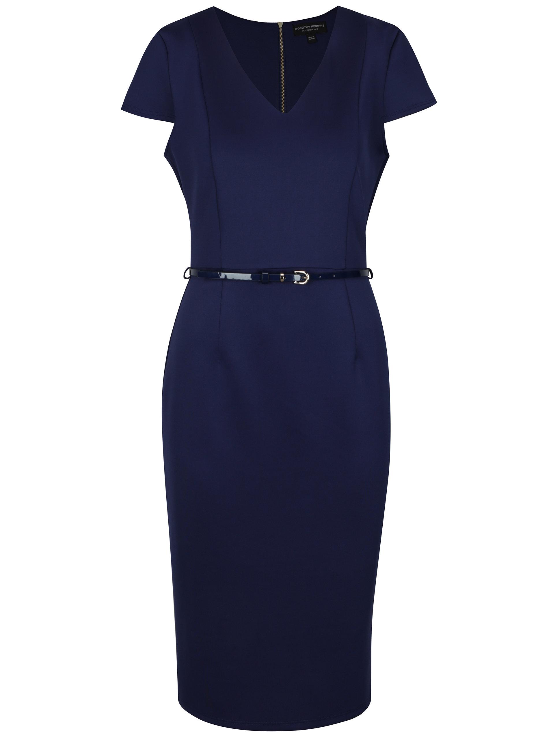 Tmavě modré pouzdrové šaty s páskem Dorothy Perkins ... 3ec57eaacd