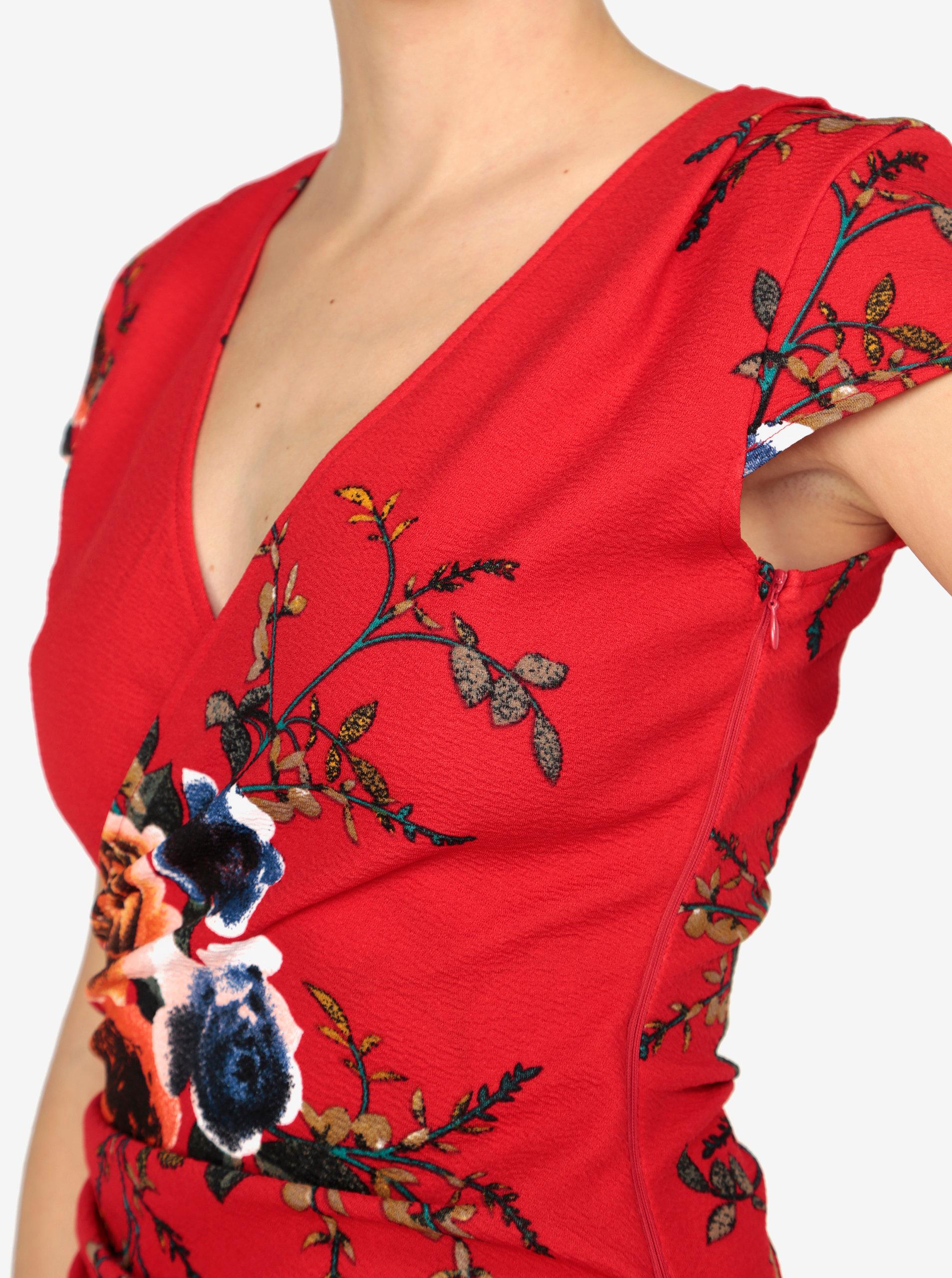 Červené kvetované asymetrické šaty AX Paris ... 2cffe6e9780