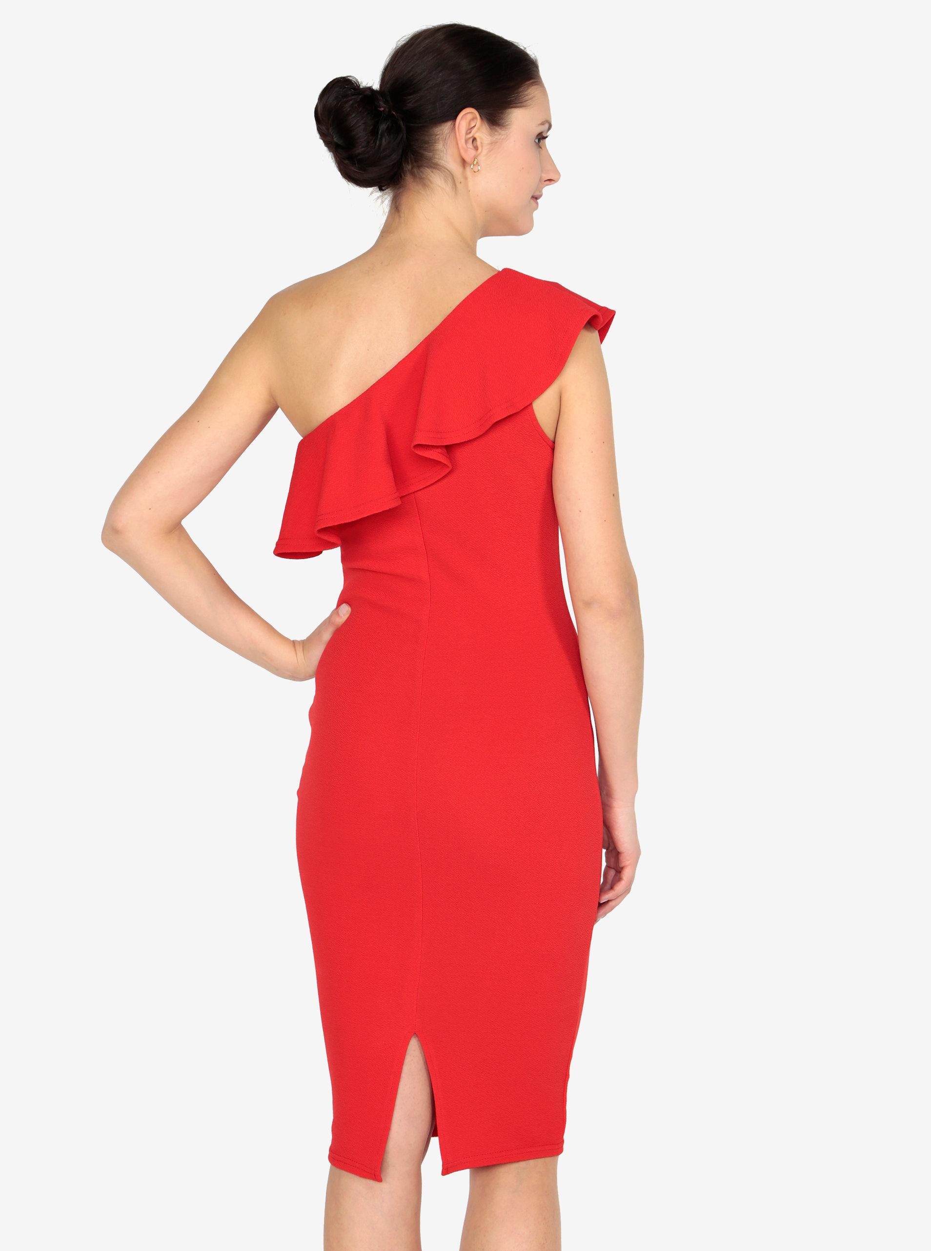 Červené asymetrické šaty s volánom AX Paris ... 3f8c27588c7