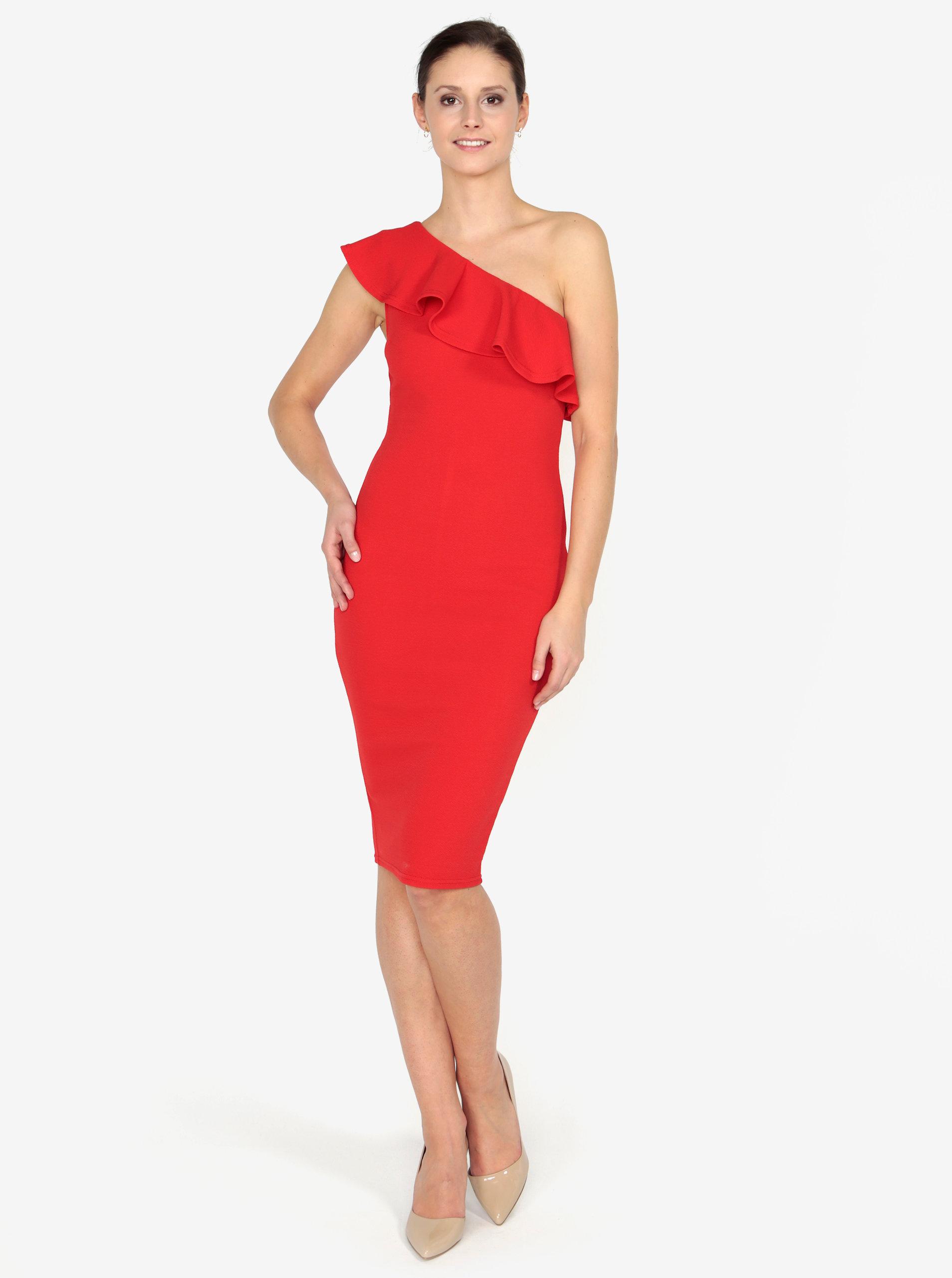 Červené asymetrické šaty s volánom AX Paris ... 196146af949