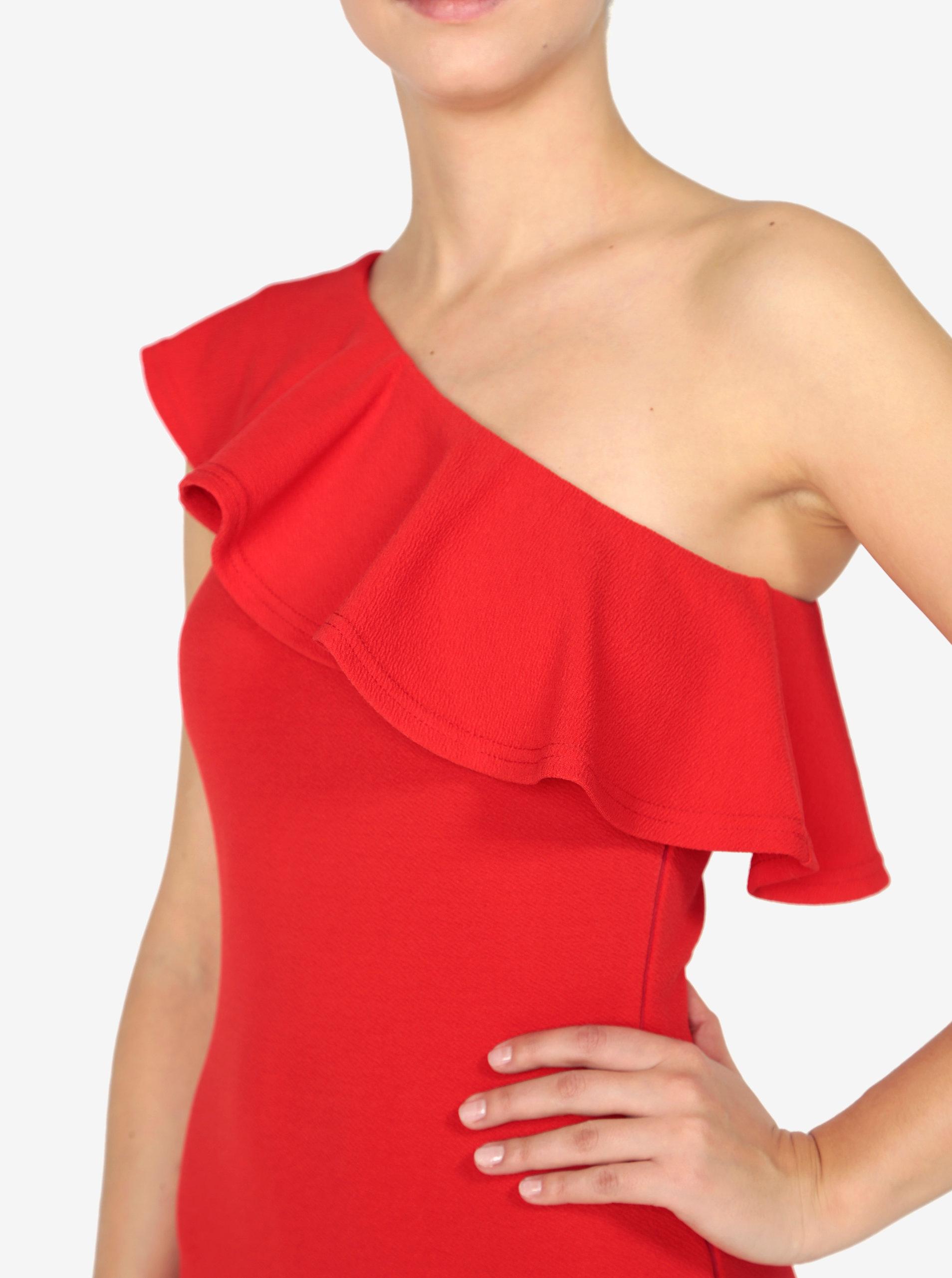 3c4ce8db1938 Červené asymetrické šaty s volánom AX Paris ...