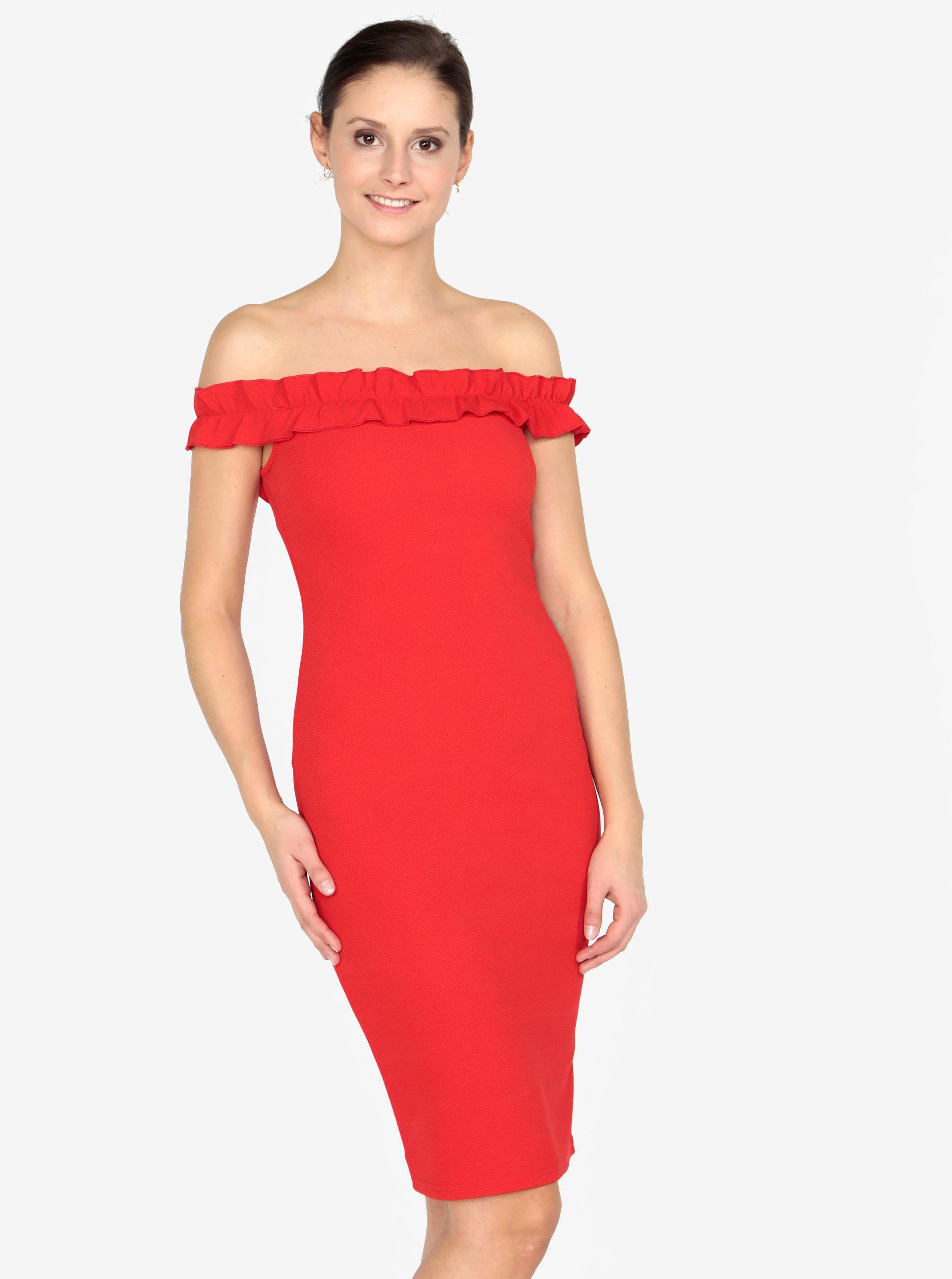 Červené puzdrové šaty s odhalenými ramenami AX Paris ... 8236ff18e1c