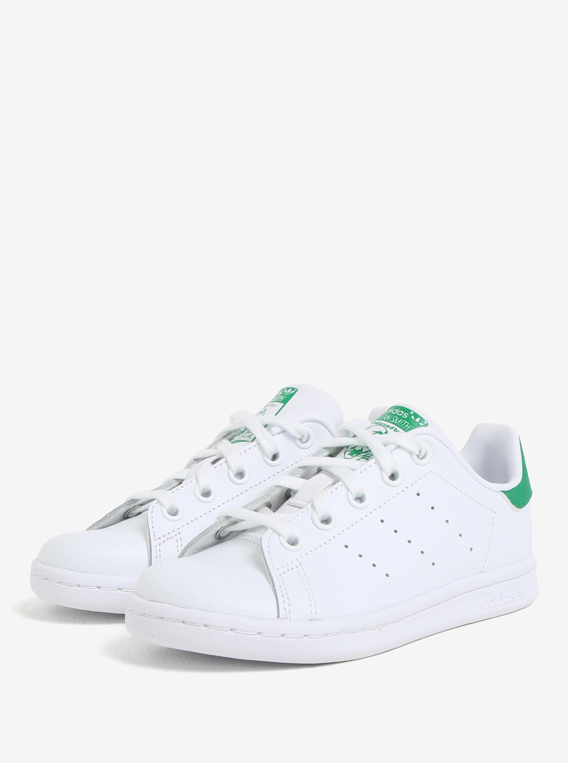 142cc48c709 Zeleno-bílé dětské kožené tenisky adidas Originals Stan Smith C ...