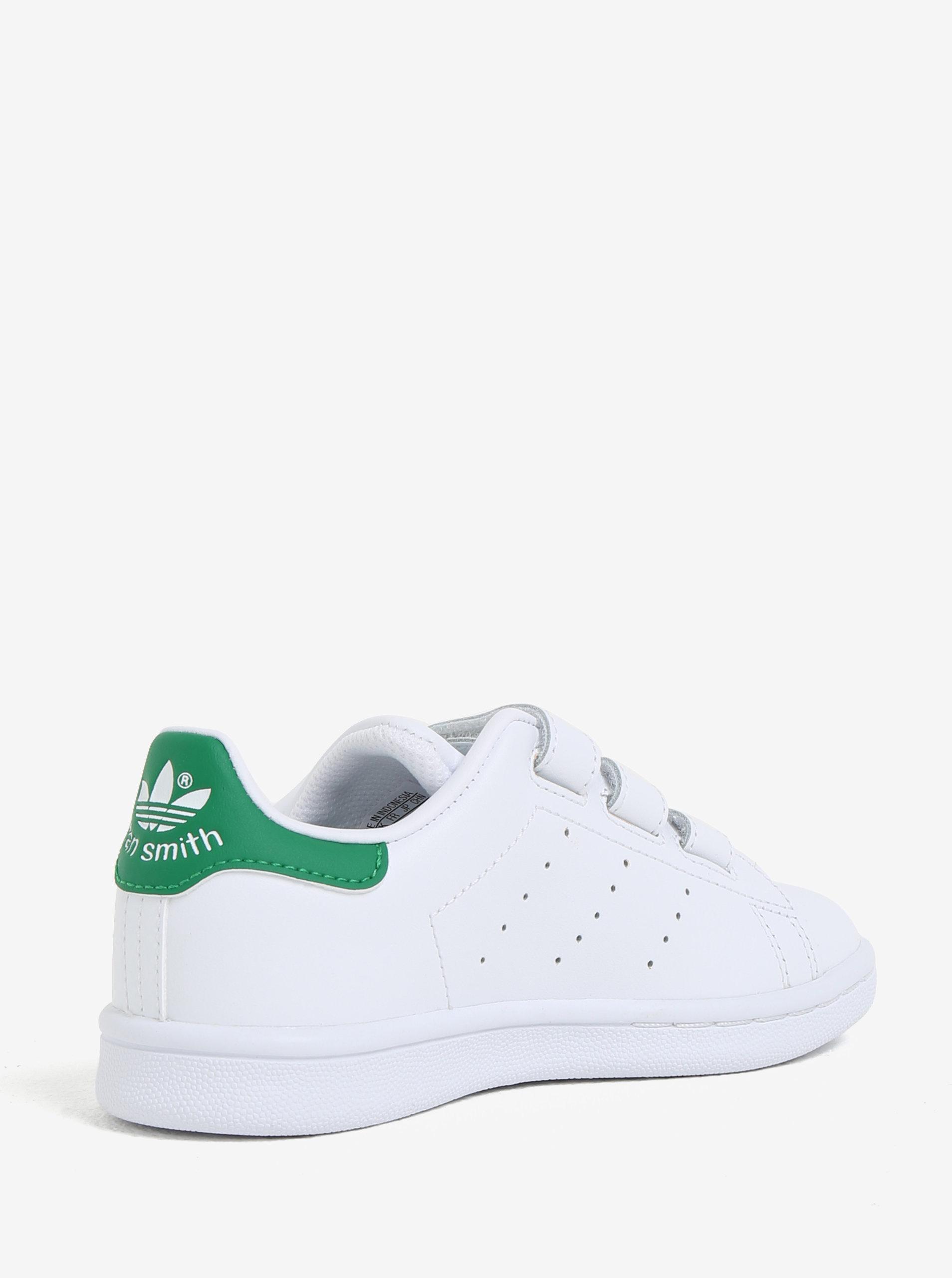 Bílé dětské kožené tenisky na suchý zip adidas Originals Stan Smith Cf C ... c808a0efb8