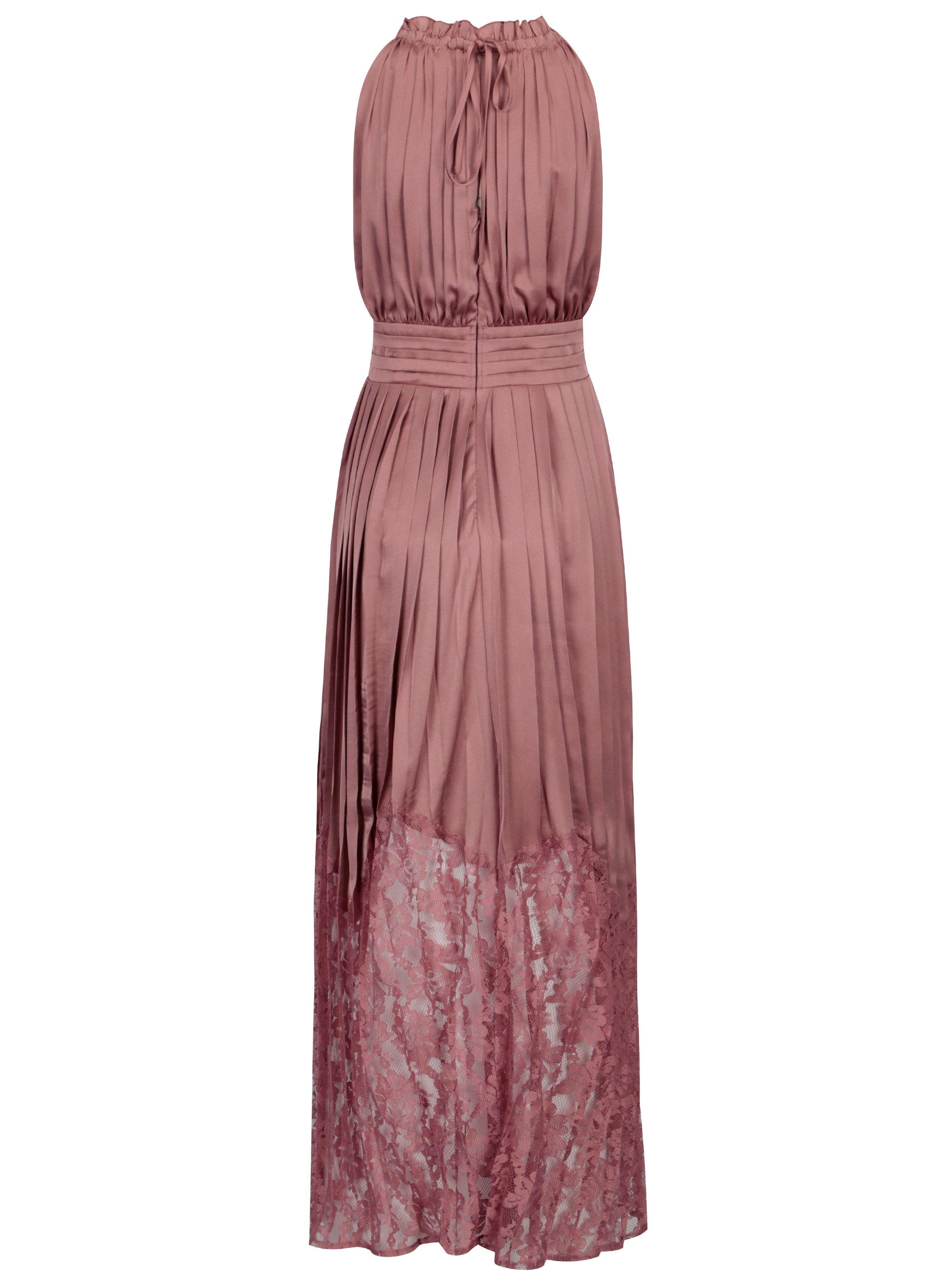 e9850dc88c72 Růžové lesklé plisované maxišaty Little Mistress ...
