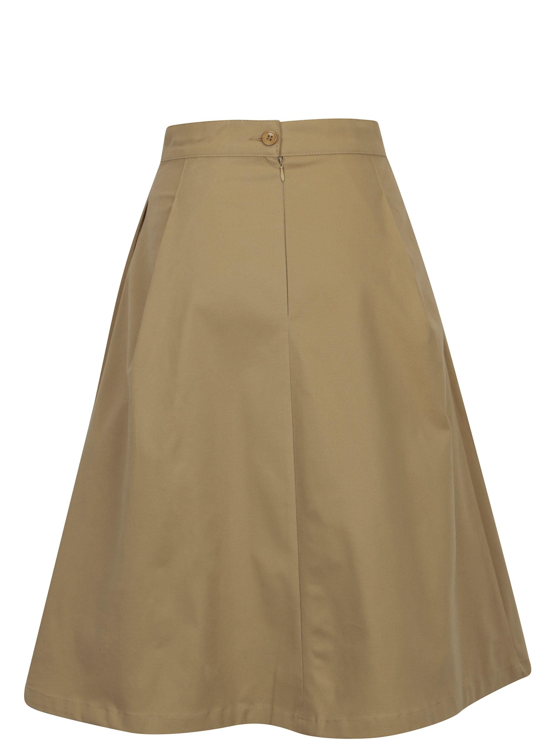 a2c944893e3 Béžová áčková sukně s vysokým pasem Makia ...