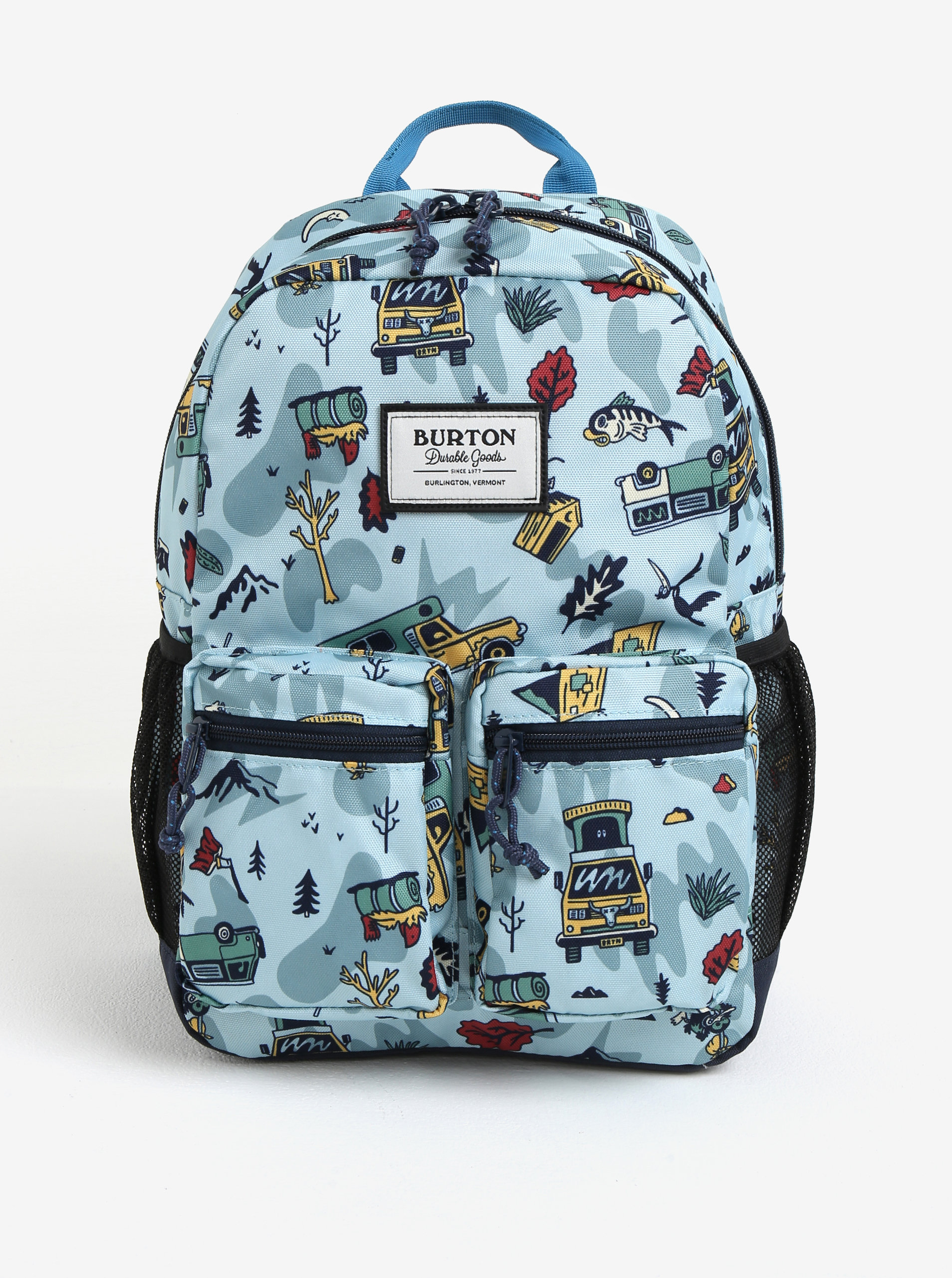 Světle modrý klučičí vzorovaný batoh s kapsami Burton Youth Gromlet 15 l ... e2cf2a6667
