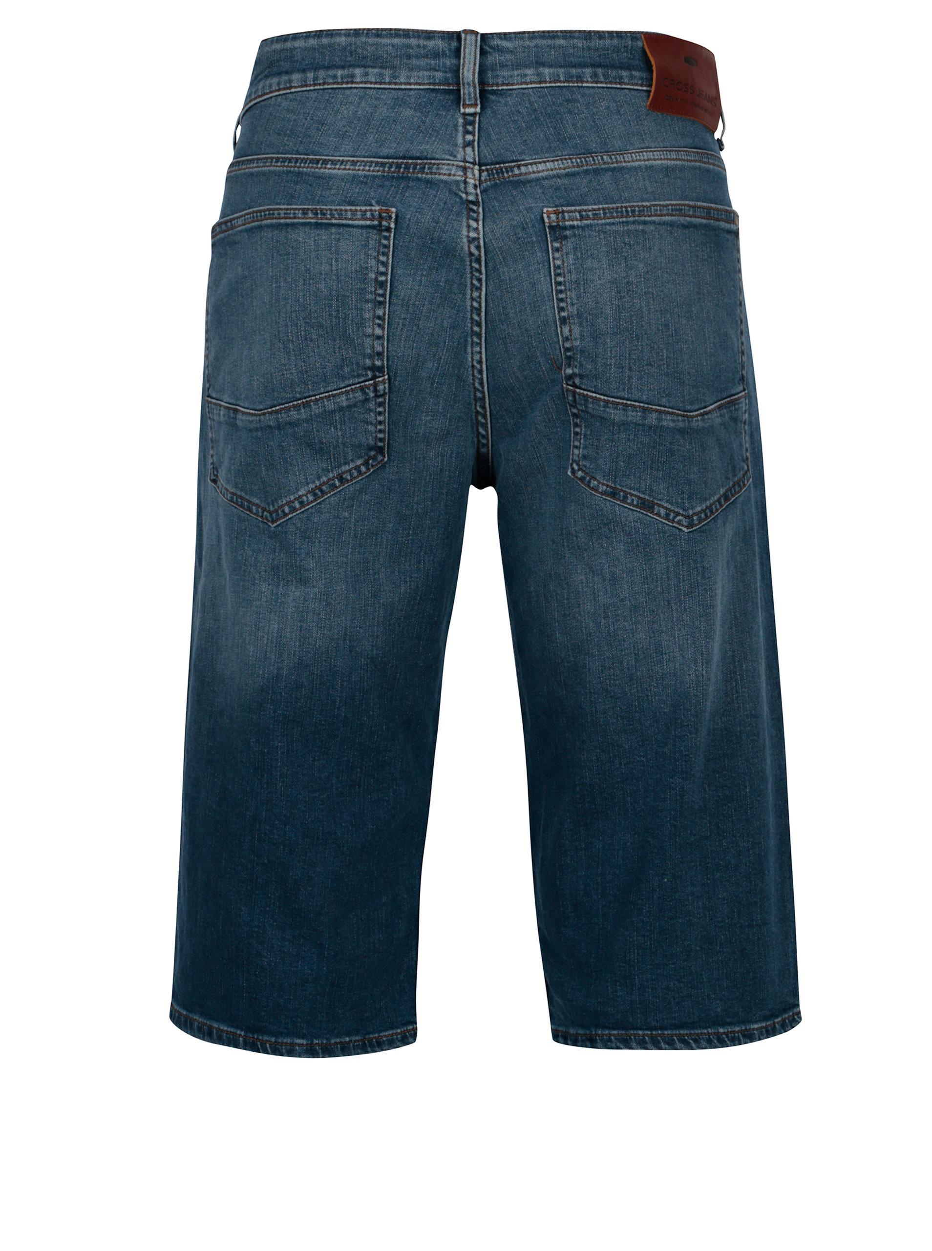 0906ad4bcf3 Modré pánské regular džínové kraťasy Cross Jeans ...