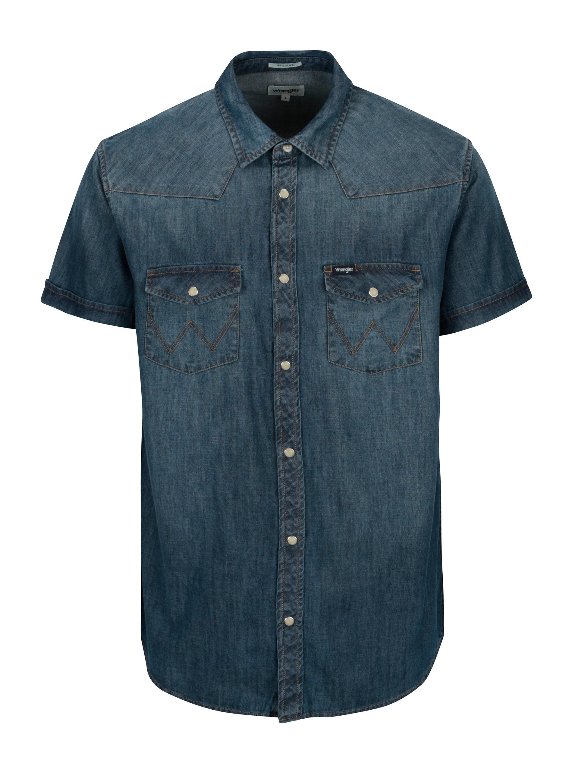 5535d5f7f823 Modrá pánska rifľová regular fit košeľa Wrangler Western ...