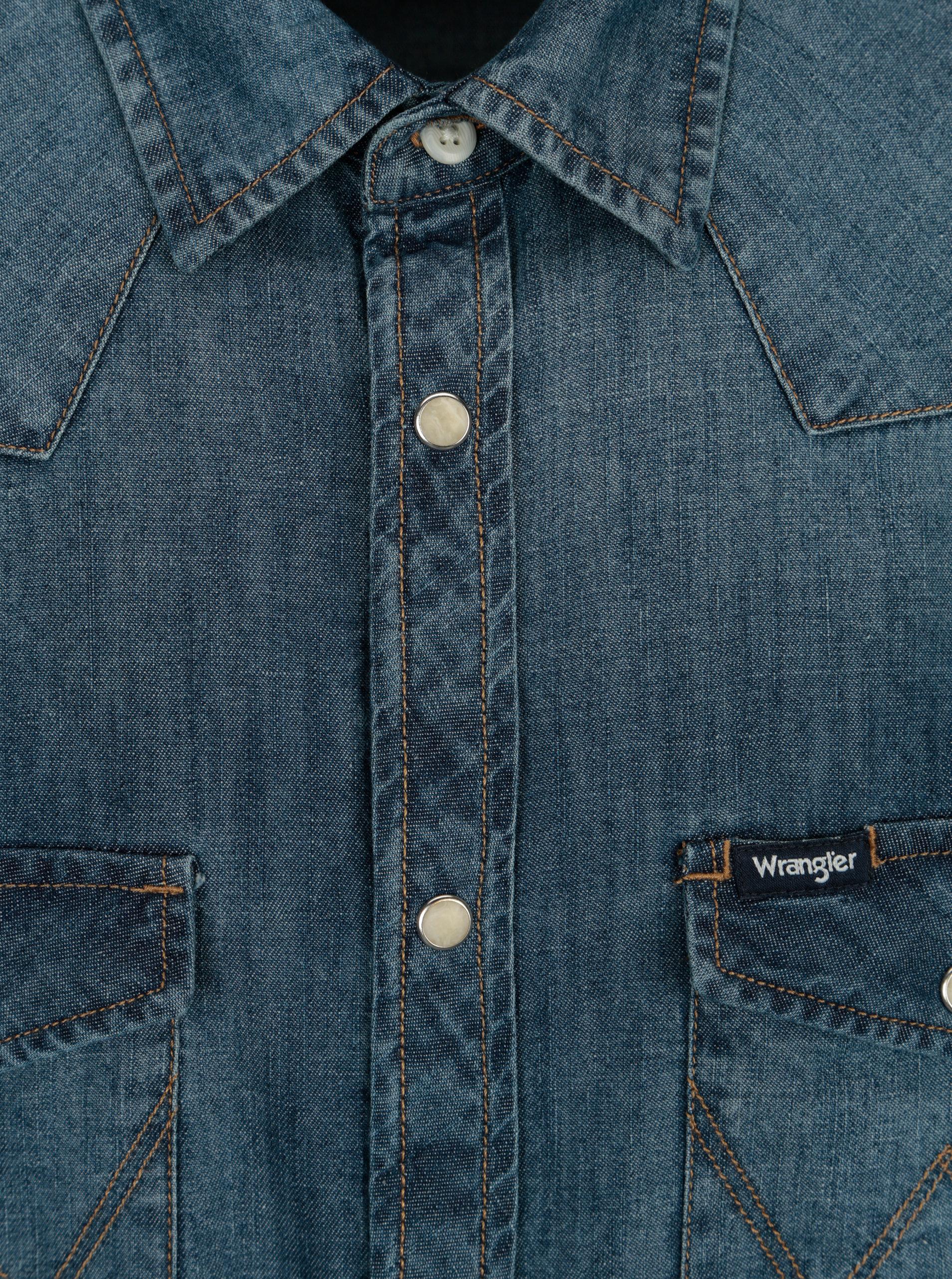 Modrá pánská džínová regular fit košile Wrangler Western ... 63b17dfed6
