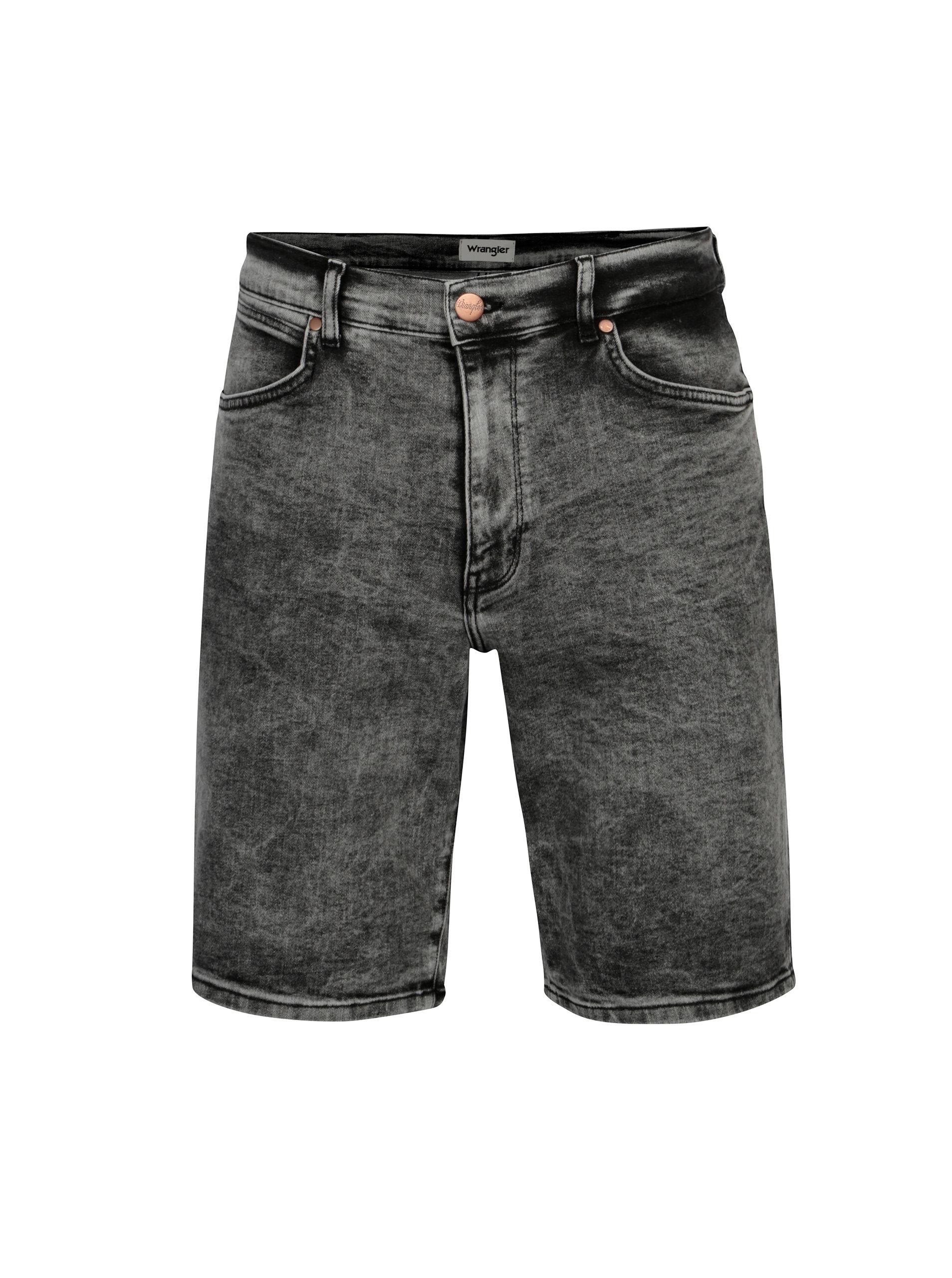 Tmavě šedé pánské džínové kraťasy Wrangler ... e19a507f29