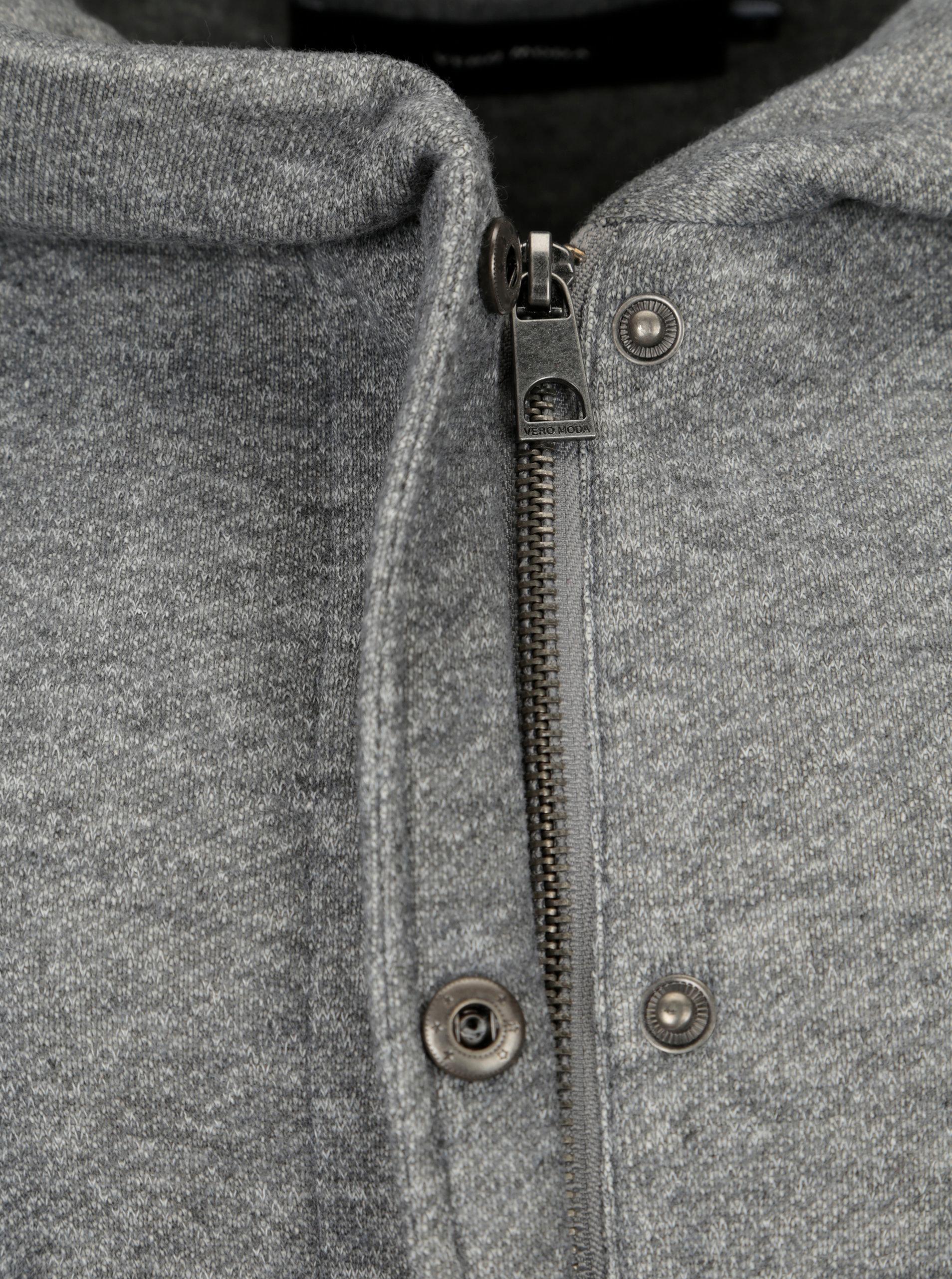 35d24b0b01 Šedý žíhaný kabát s kapucí VERO MODA Rodona ...