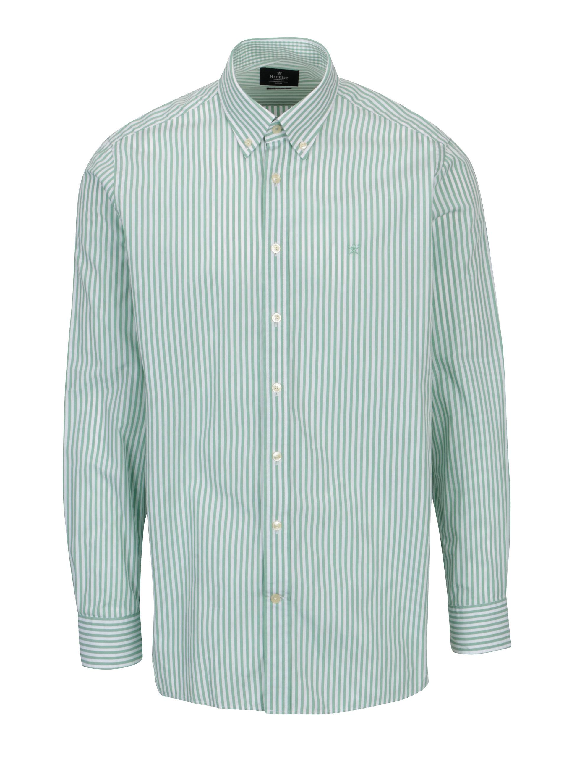 Bílo-zelená pruhovaná classic fit košile Hackett London 2c0197956a