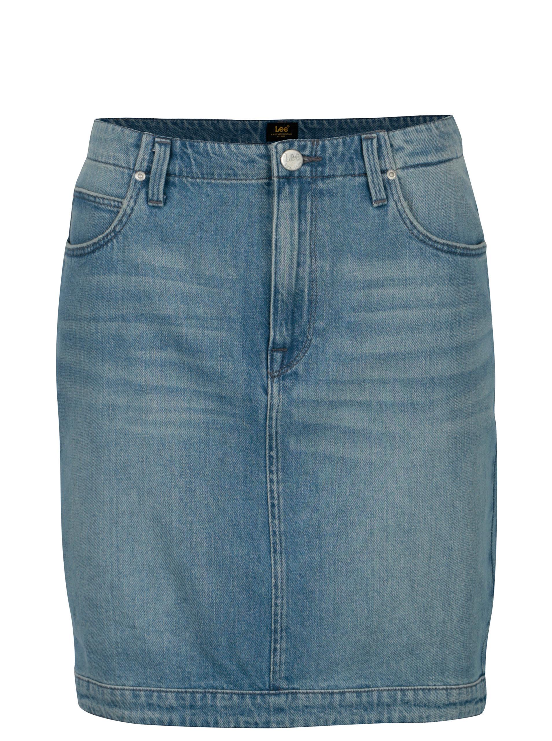 042f549b9dbf Modrá rifľová sukňa s vysokým pásom Lee ...