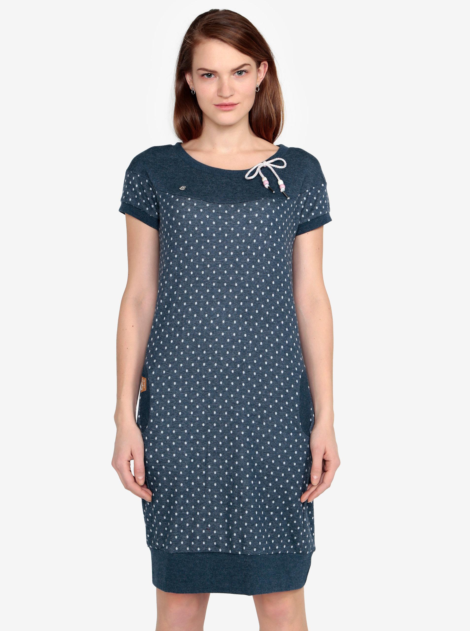 Modré puntíkované žíhané šaty Ragwear Claire ... 7180355132