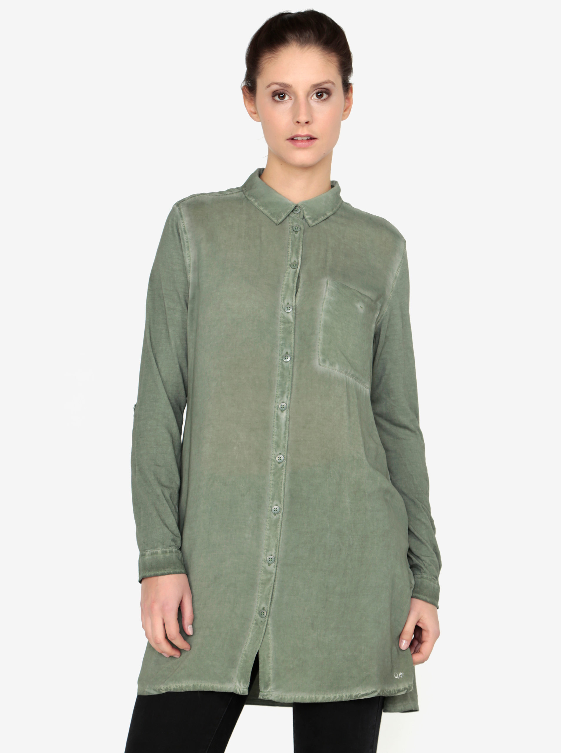 Khaki dámská dlouhá košile s náprsní kapsou QS by s.Oliver  88678b0893