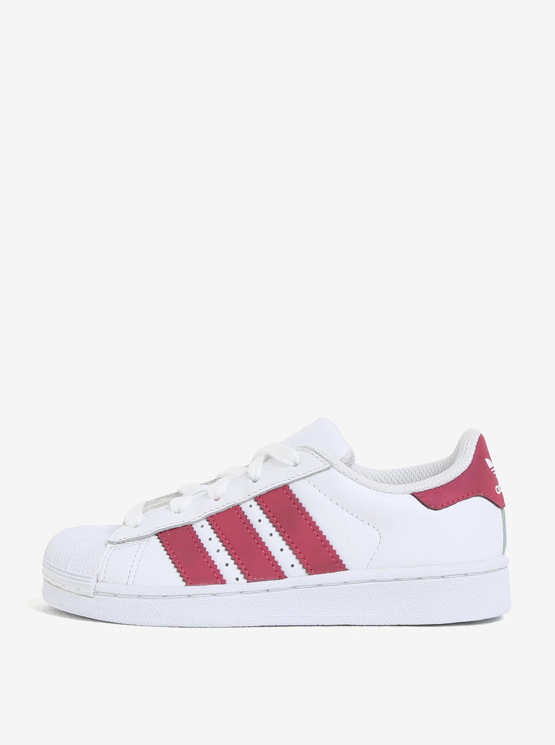 e13b87ccce3 Biele detské kožené tenisky s červenými detailmi adidas Originals ...