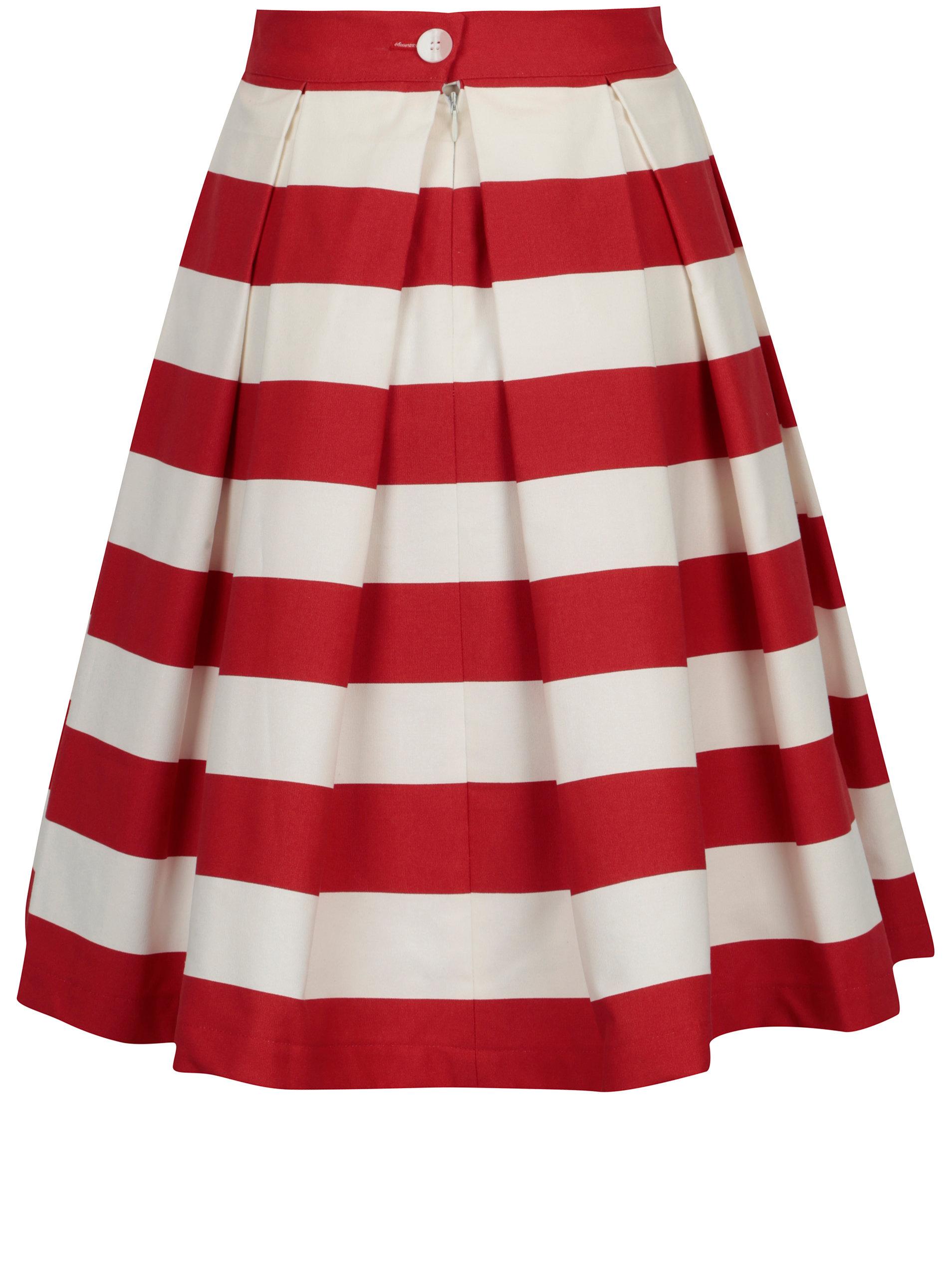 97d4f4871d62 Červeno-krémová pruhovaná kolová sukně MONLEMON Navy Red ...