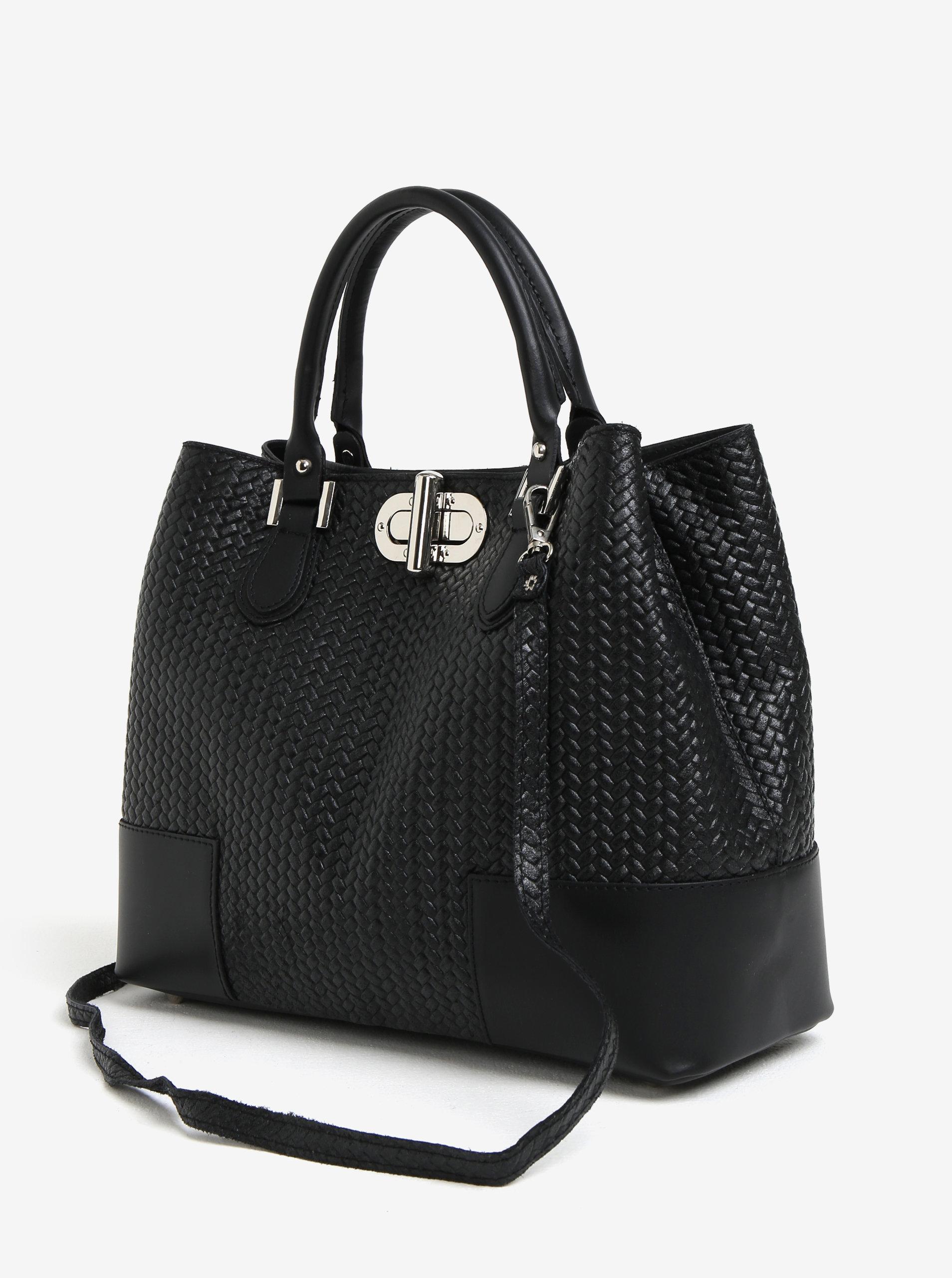 ce680c7c3184 Čierna dámska kožená kabelka so vzorom KARA ...