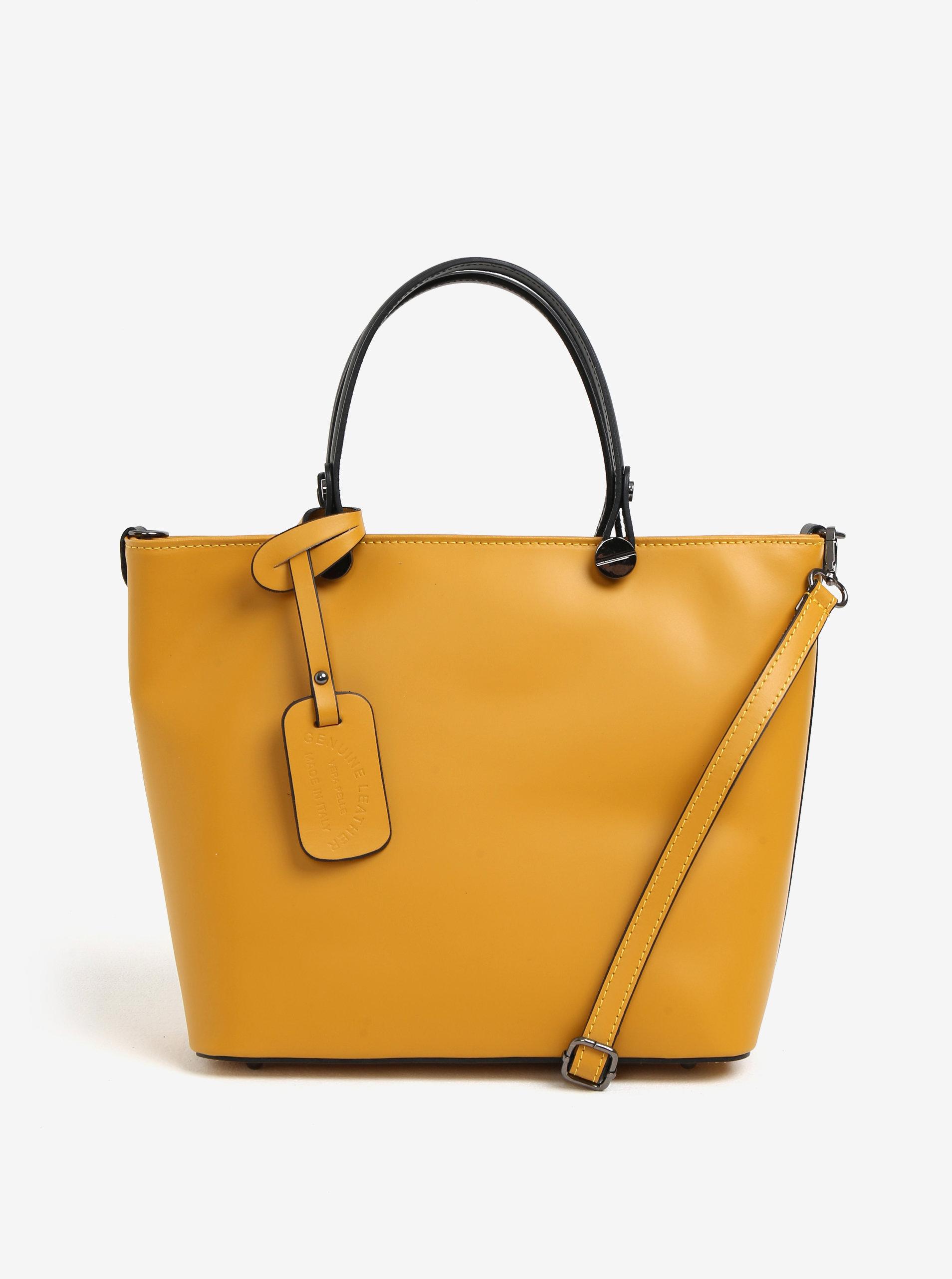906561e78354 Žlutá dámská kožená kabelka KARA ...