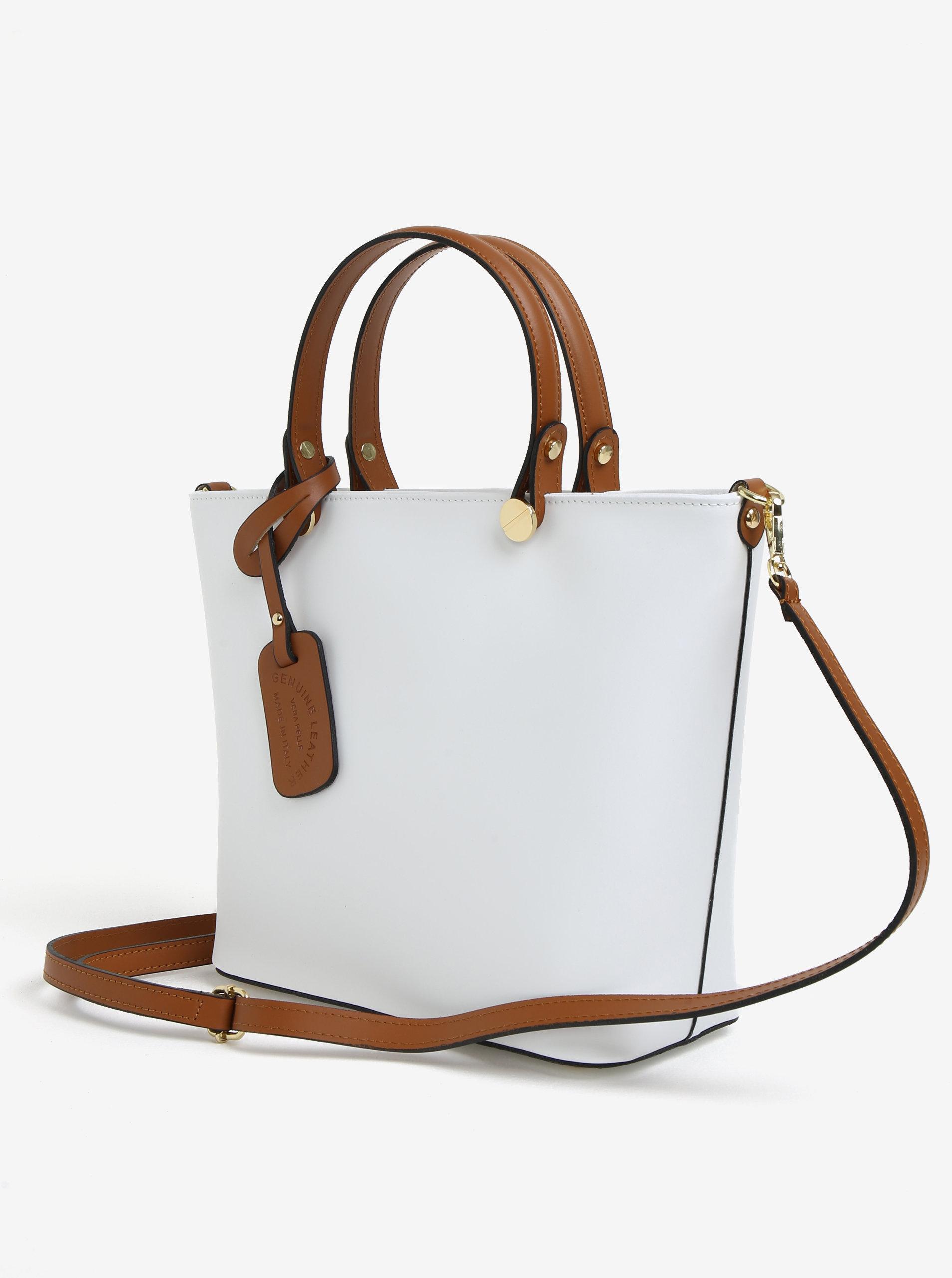 38d18e84dc65 Bílá dámská kožená kabelka KARA ...