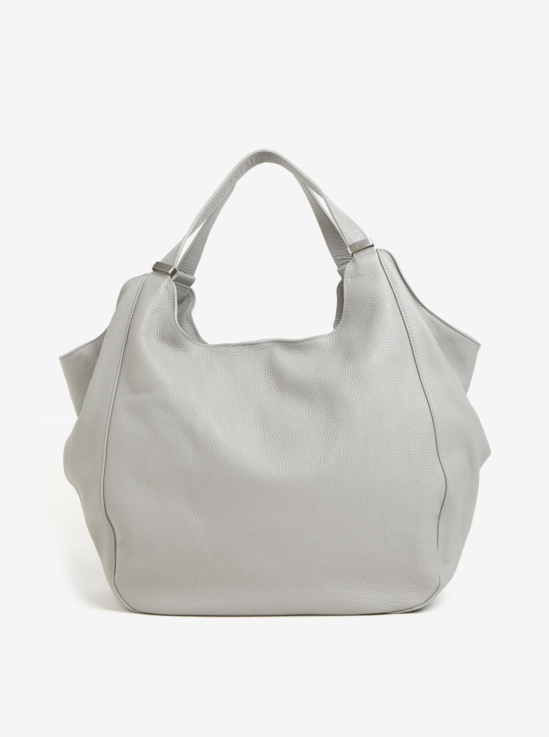 1a45a5950c Světle šedá dámská kožená kabelka KARA ...