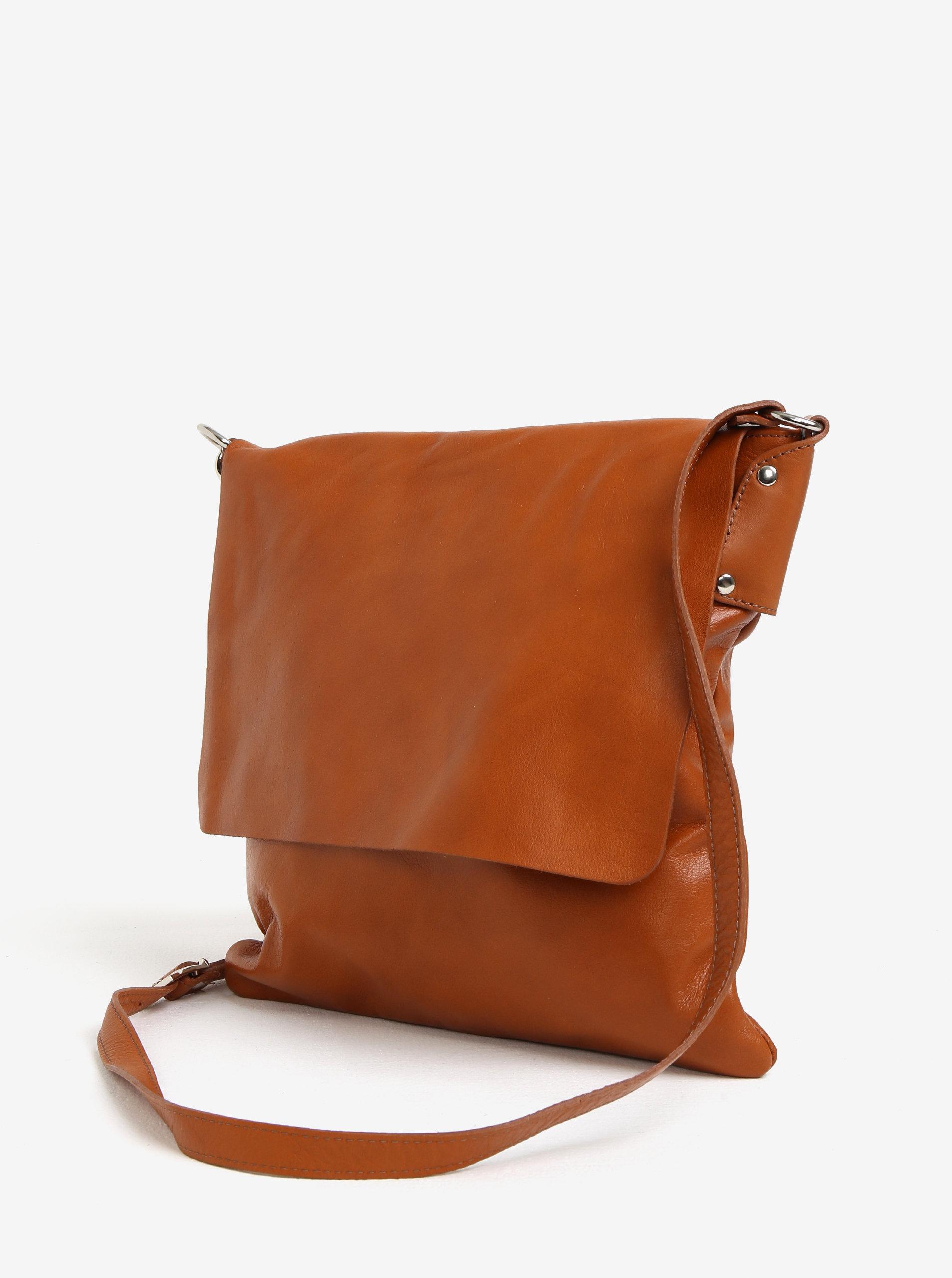 Hnedá dámska kožená crossbody kabelka KARA ... b8ad9a5096b