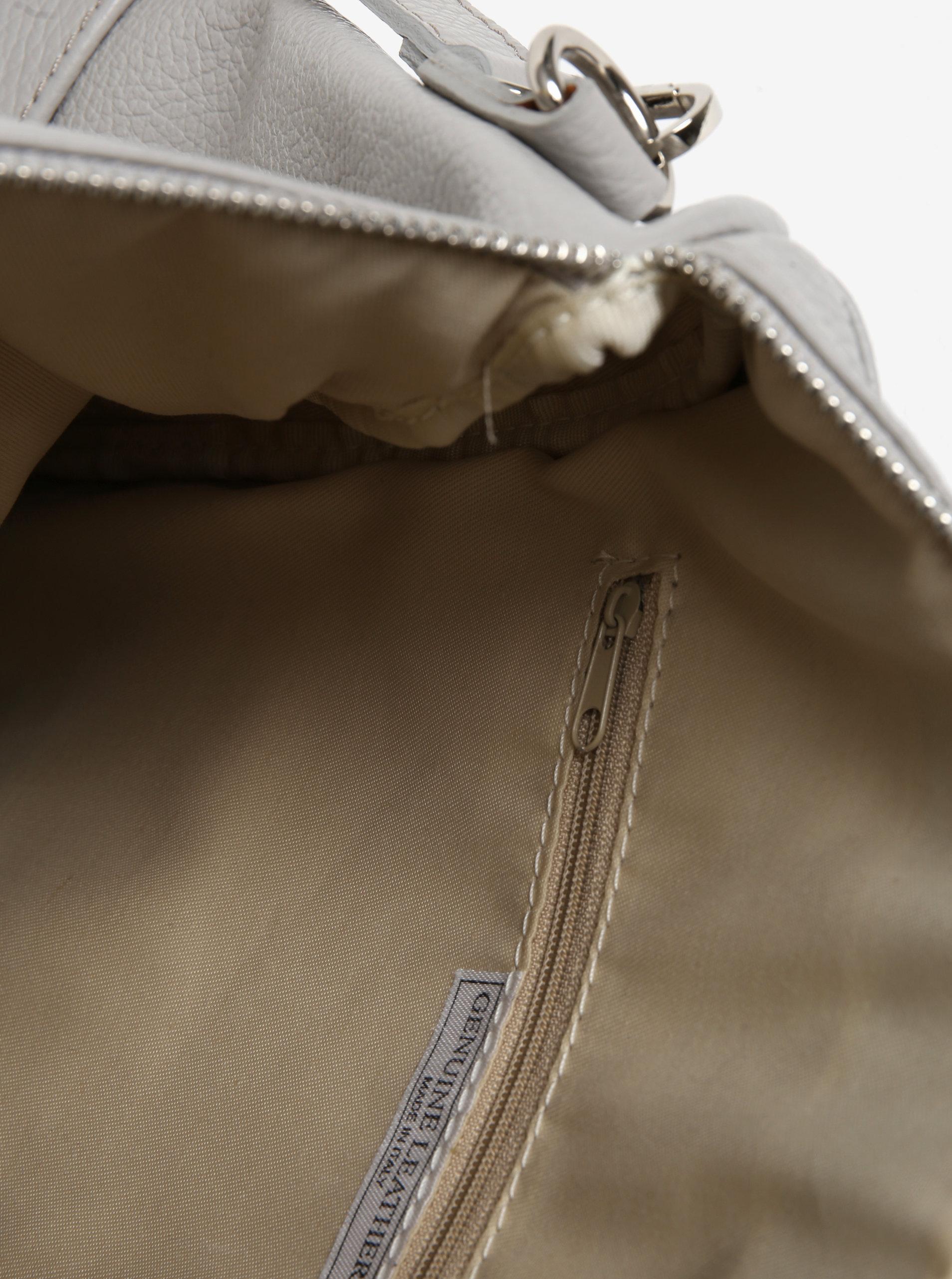 165b8be6b2 Světle šedý dámský kožený batoh KARA ...