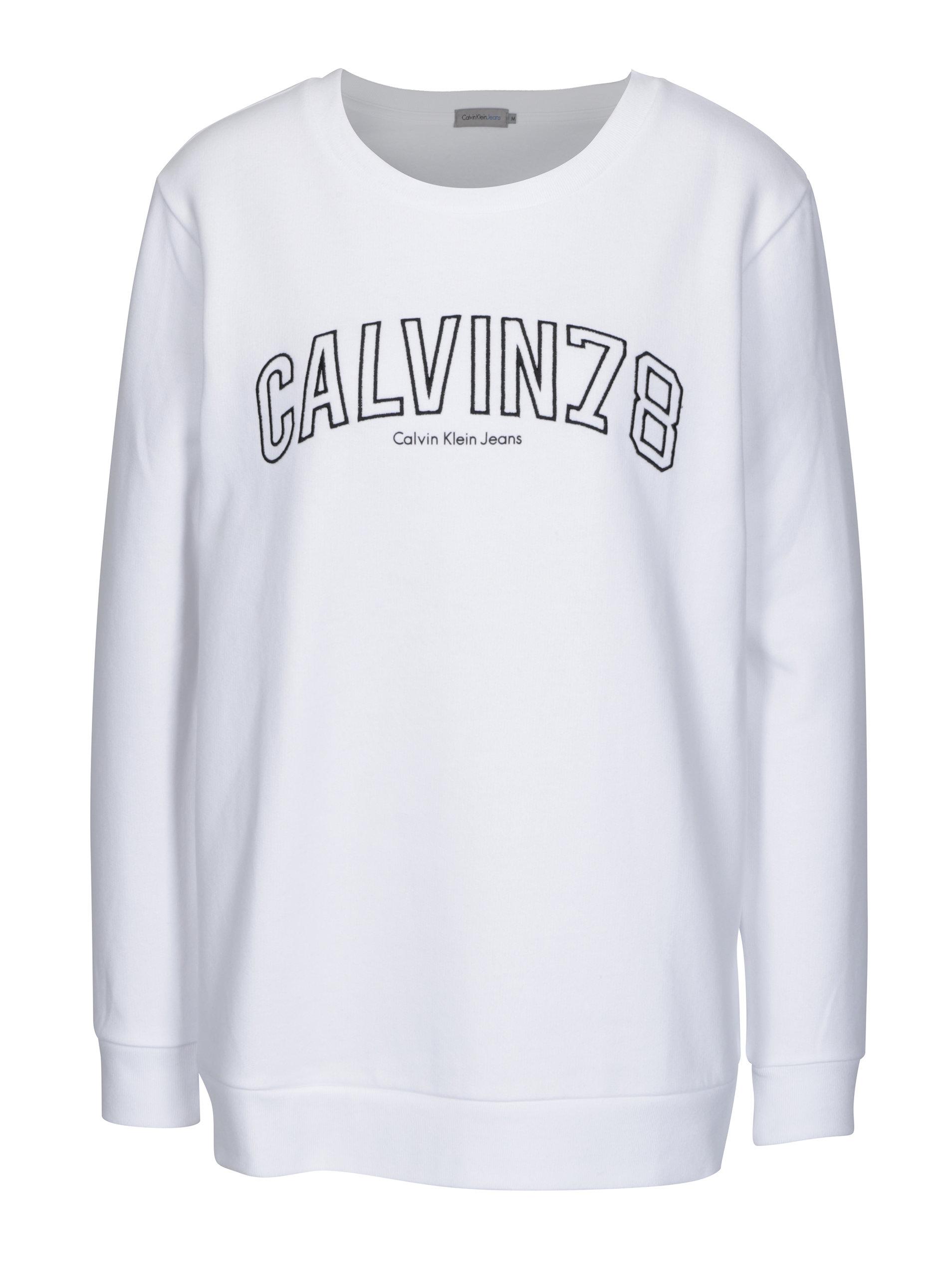Bílá dámská mikina s výšivkou Calvin Klein Jeans Core - Akční cena ... ff090ec120