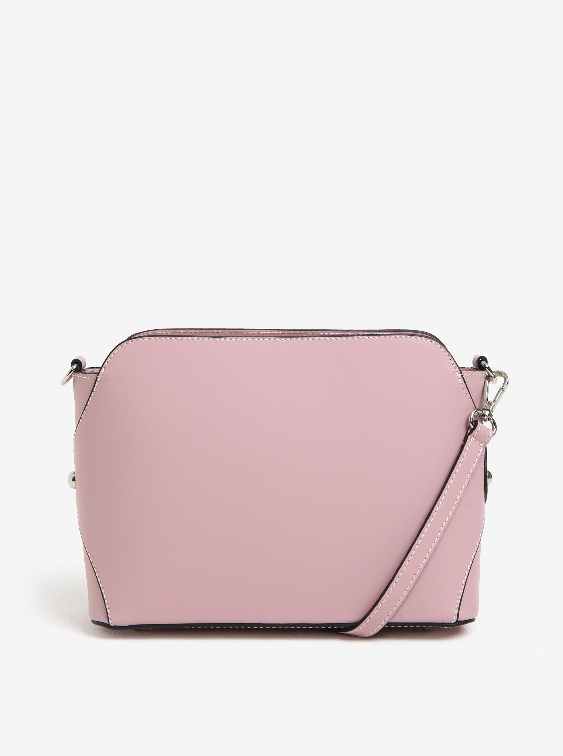 Ružová dámska kožená crossbody kabelka KARA ... 9b616bca3a3