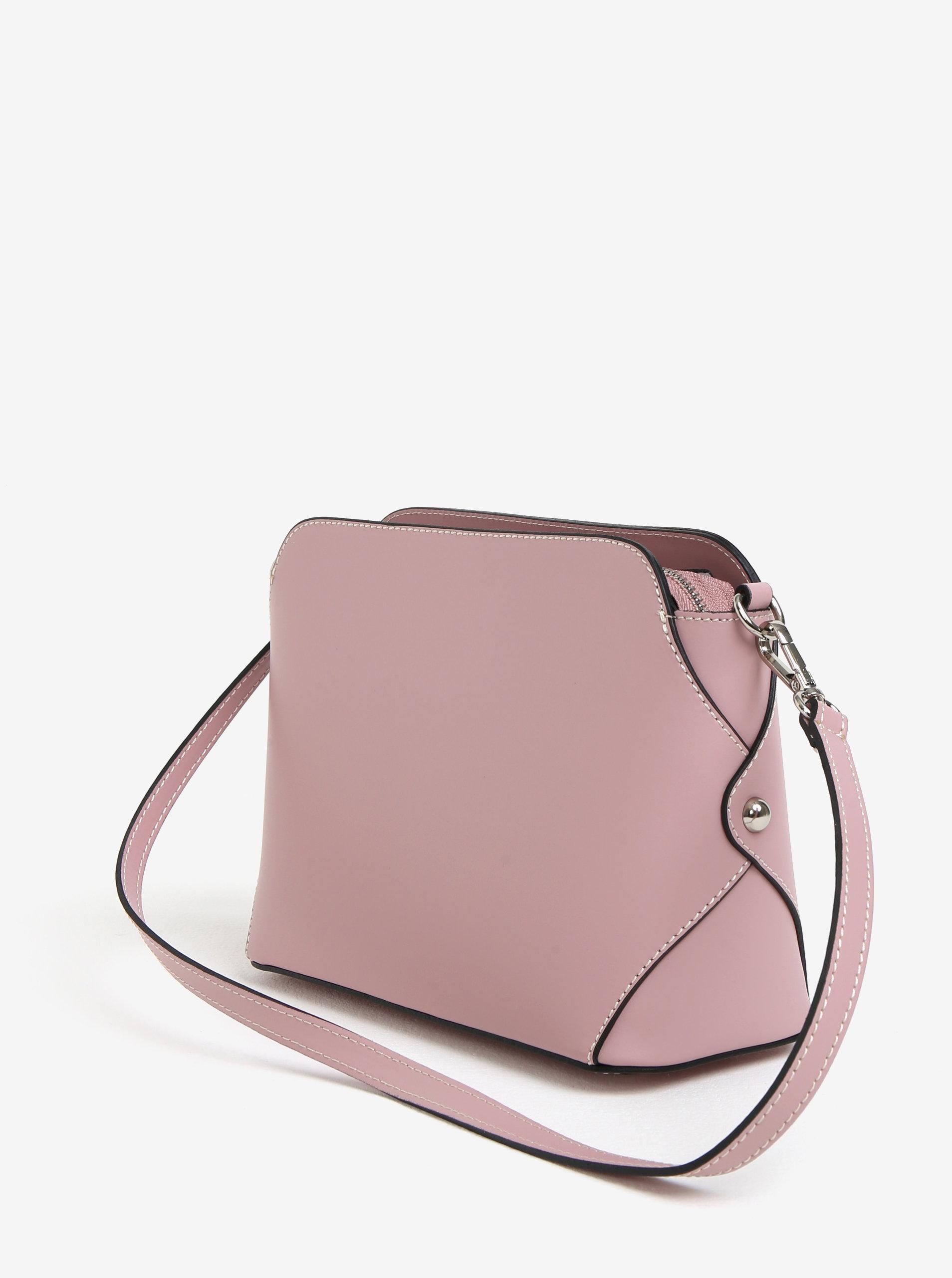 5782921f06 Růžová dámská kožená crossbody kabelka KARA ...